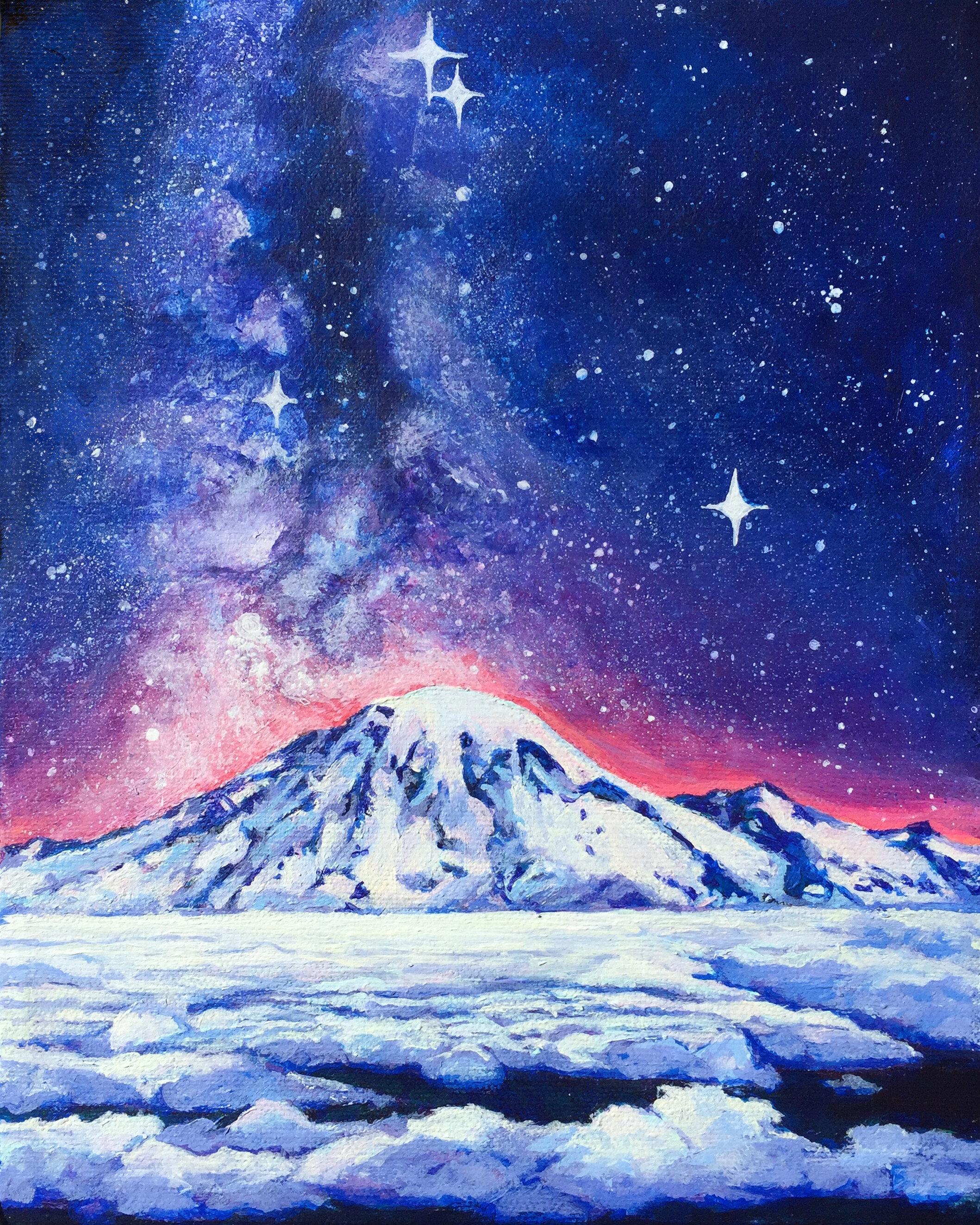 Starry Mt Rainier