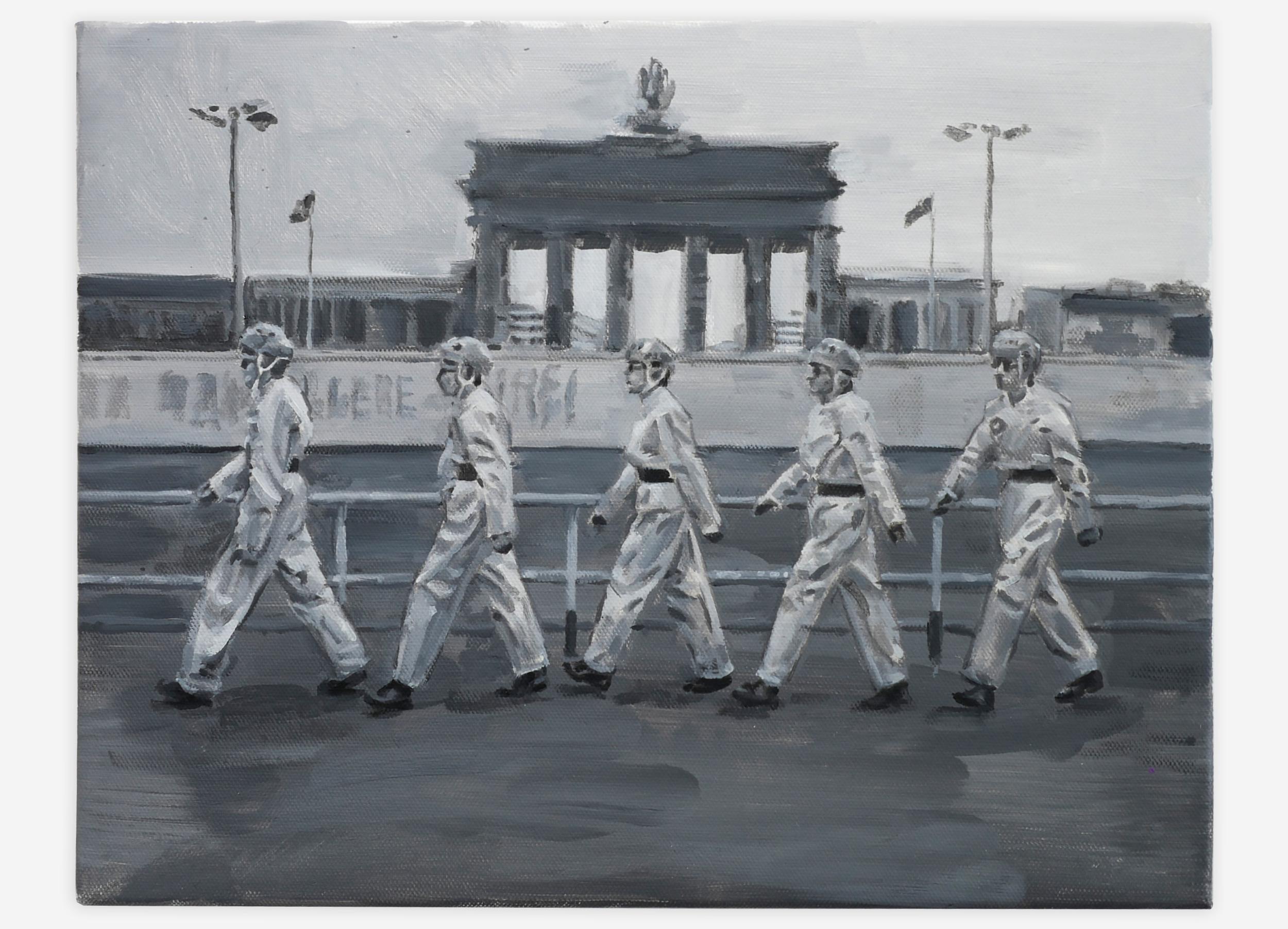 """Devo at Berlin Wall 1978, oil on canvas, 11"""" x 14"""", 2016"""