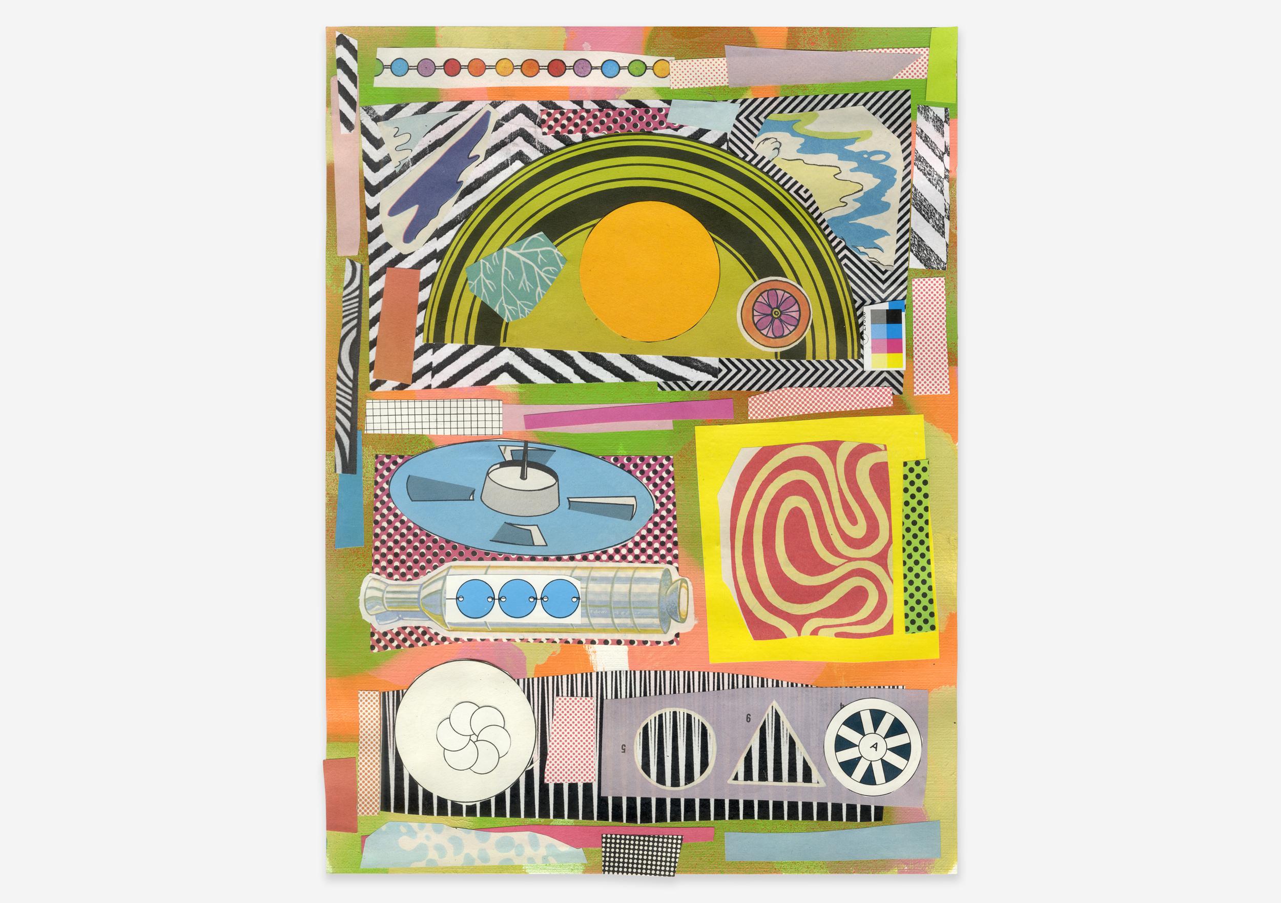 """Mainpulse-Generator, Mixed Media on Paper, 9"""" x 12"""", 2017"""