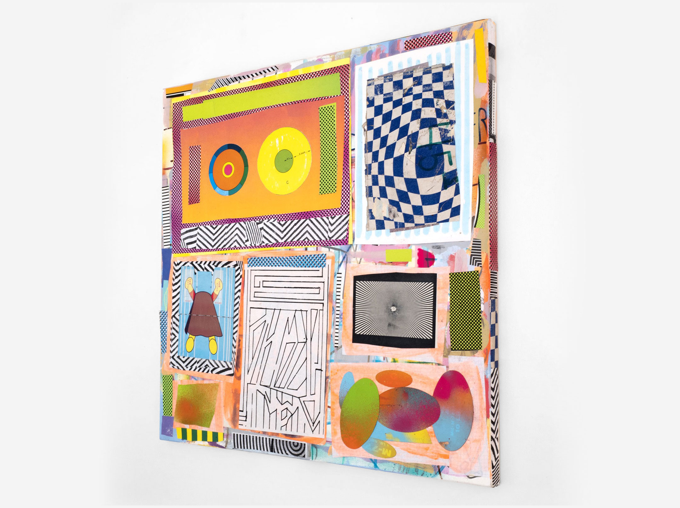 "Anpanman, Side View, Mixed Media on Canvas, 20"" x 20"", 2017"