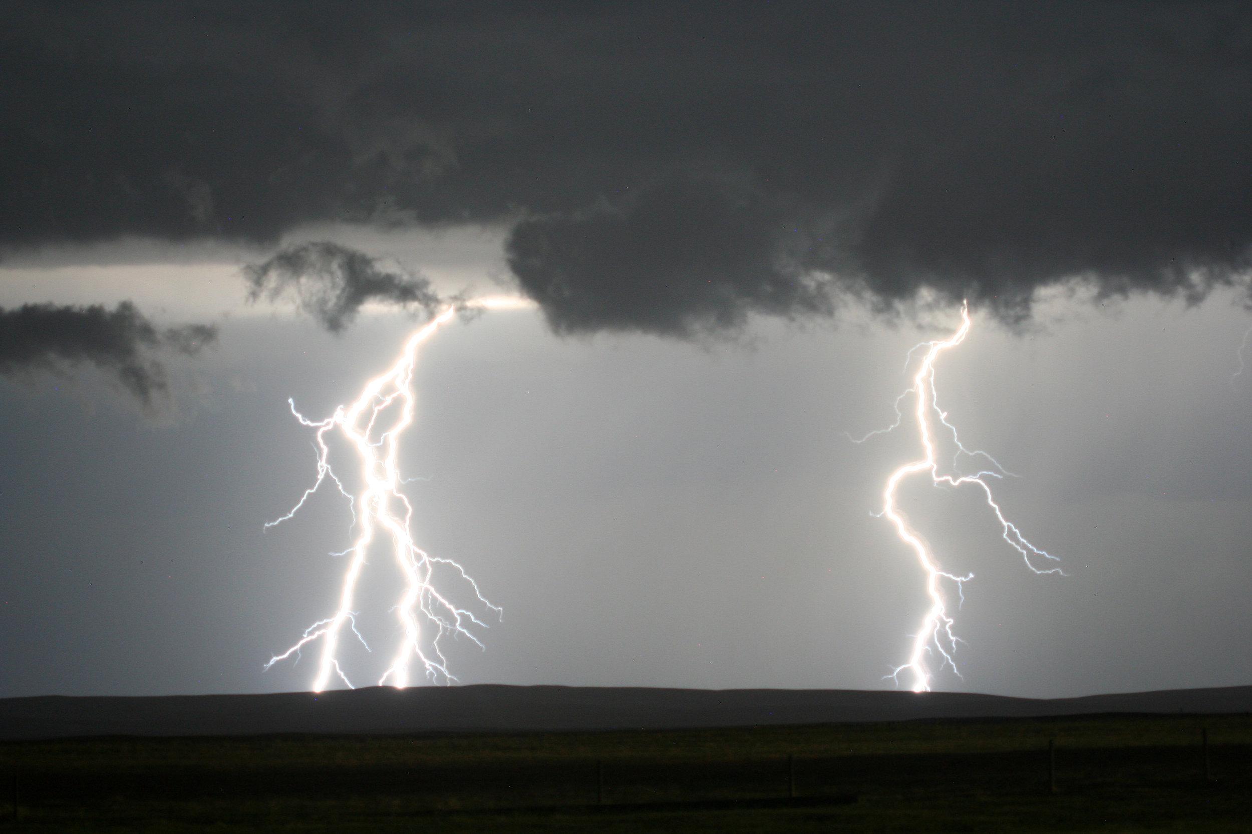 Lightning storm in CFB Suffield, Alberta 2013