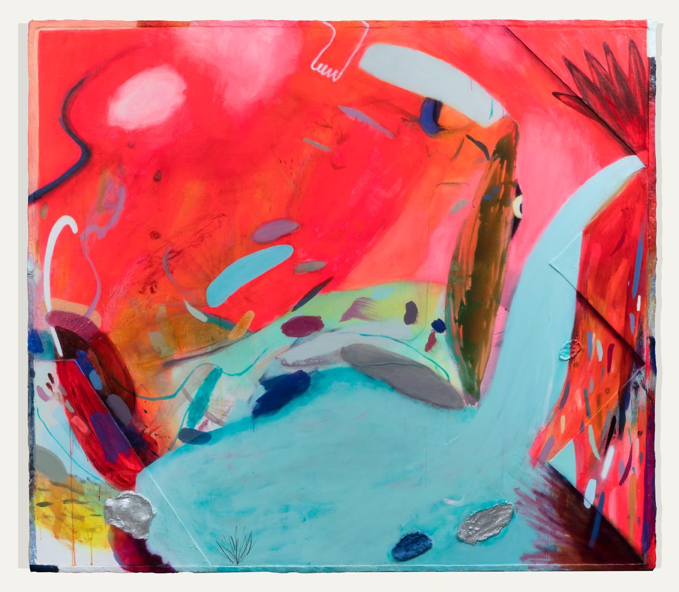 "Into Arcadia    2017  Mixed media on canvas with papier mâché frame  81.5 x 71.25"""