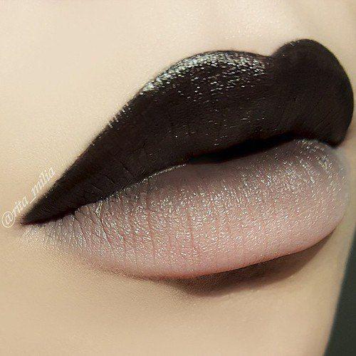 Amazing two-tone Black and Pink lip by  @Rita_Milia