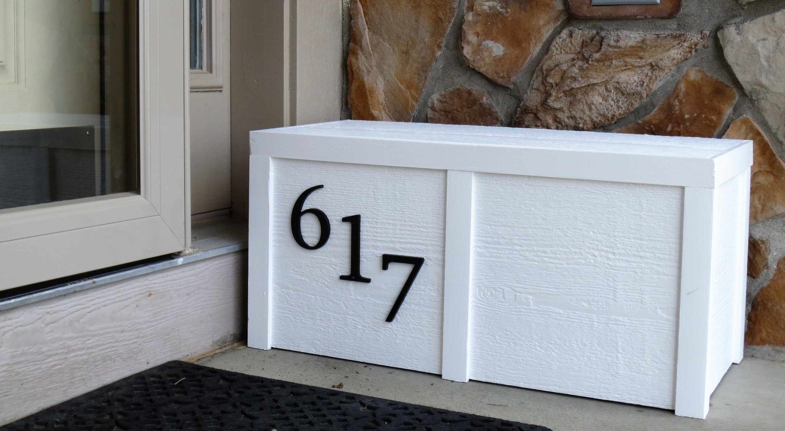 """Our classic """"Porch Box."""" Painted white with Optional Address numbers."""