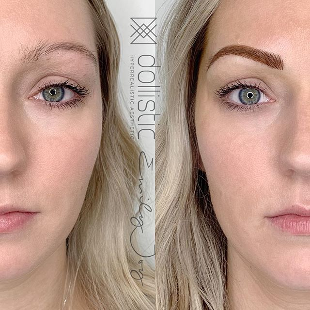 An O 👏 M 👏G 👏 #brow transformation by @emeliaalegria using ombre shading with #xion + #microblading