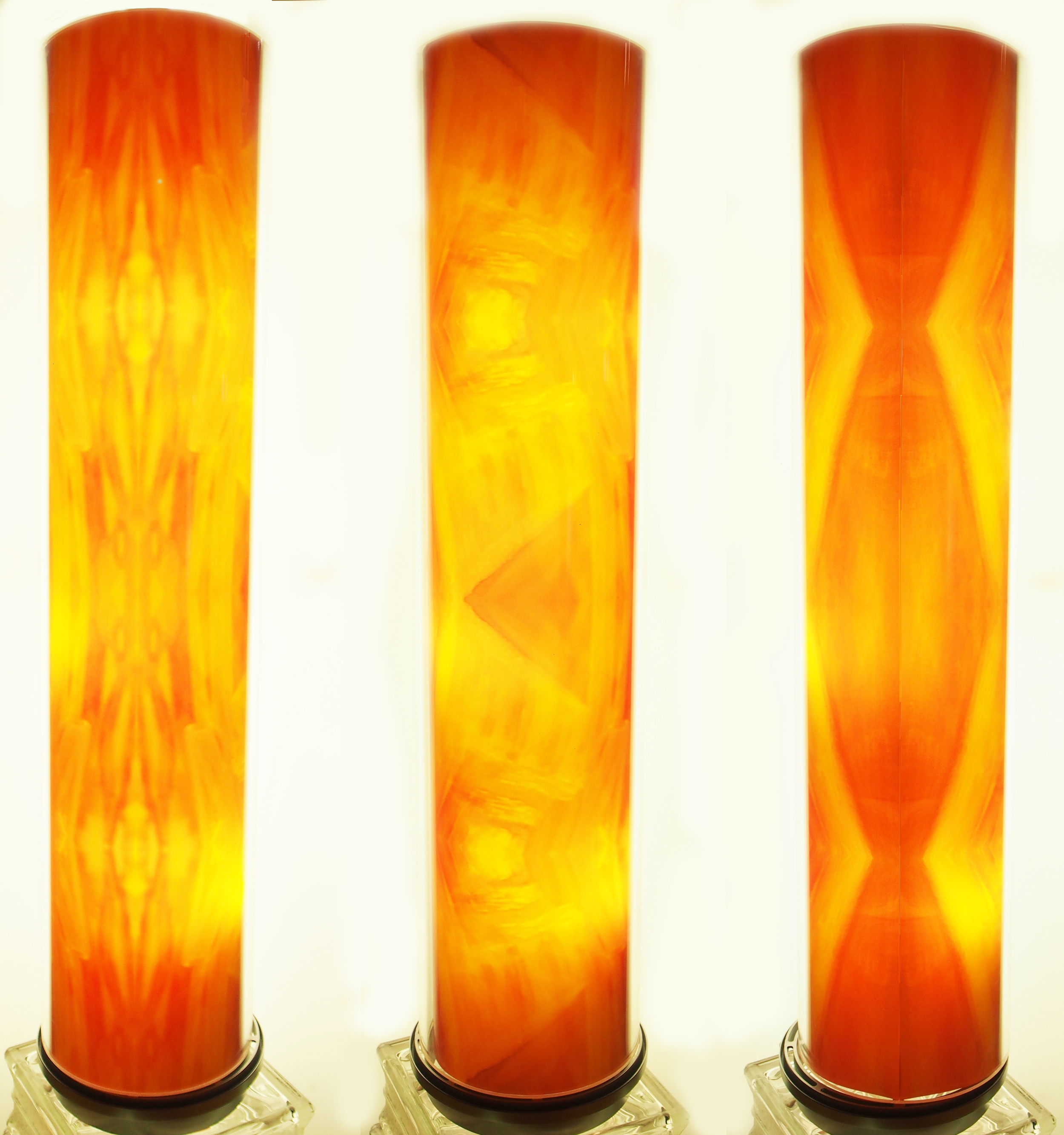 "ORANGE YELLOW Tube Light.  Front/Side/Back views.  30""H x 7""D.  Includes LED lights."