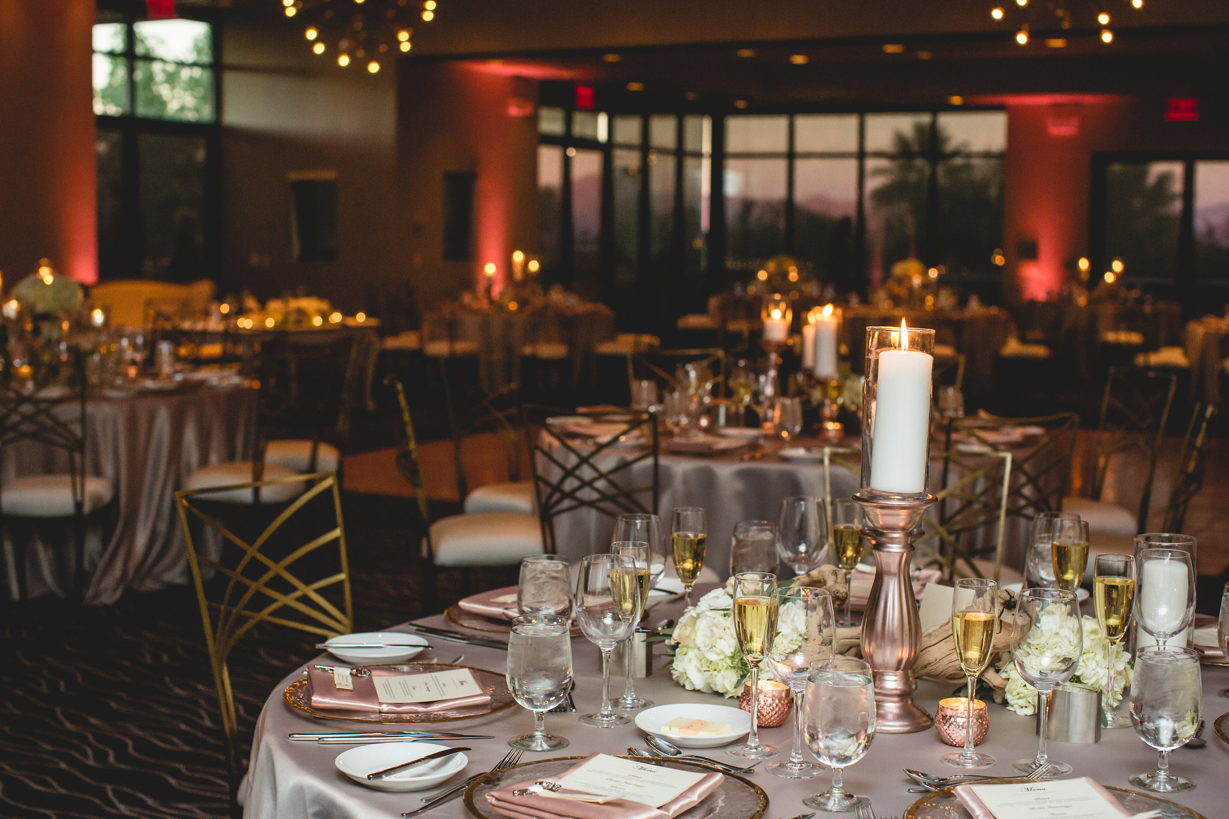 wedding reception rose gold sanctuary az