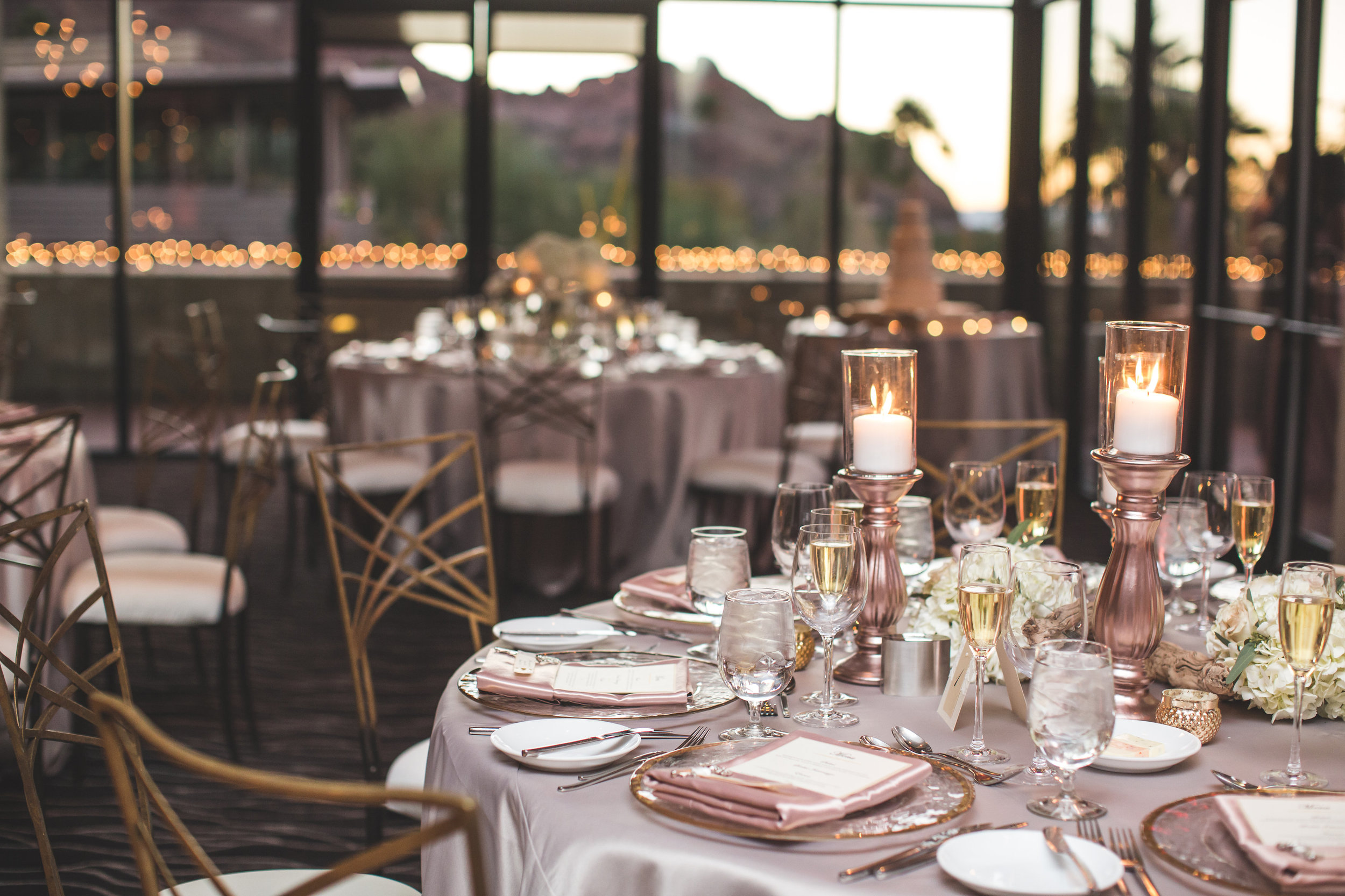 gold blush wedding reception