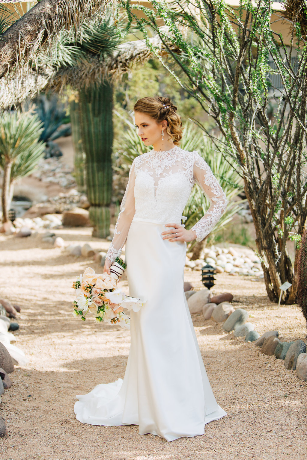 Bride, Phoenix Scottsdale Arizona Wedding Planner, Bridal gown, lace bridal gown, sleeved bridal gown, southwest,  Orchids, blush, peach, southwest, elegant, flowers, roses, rustic, western, bridal bouquet