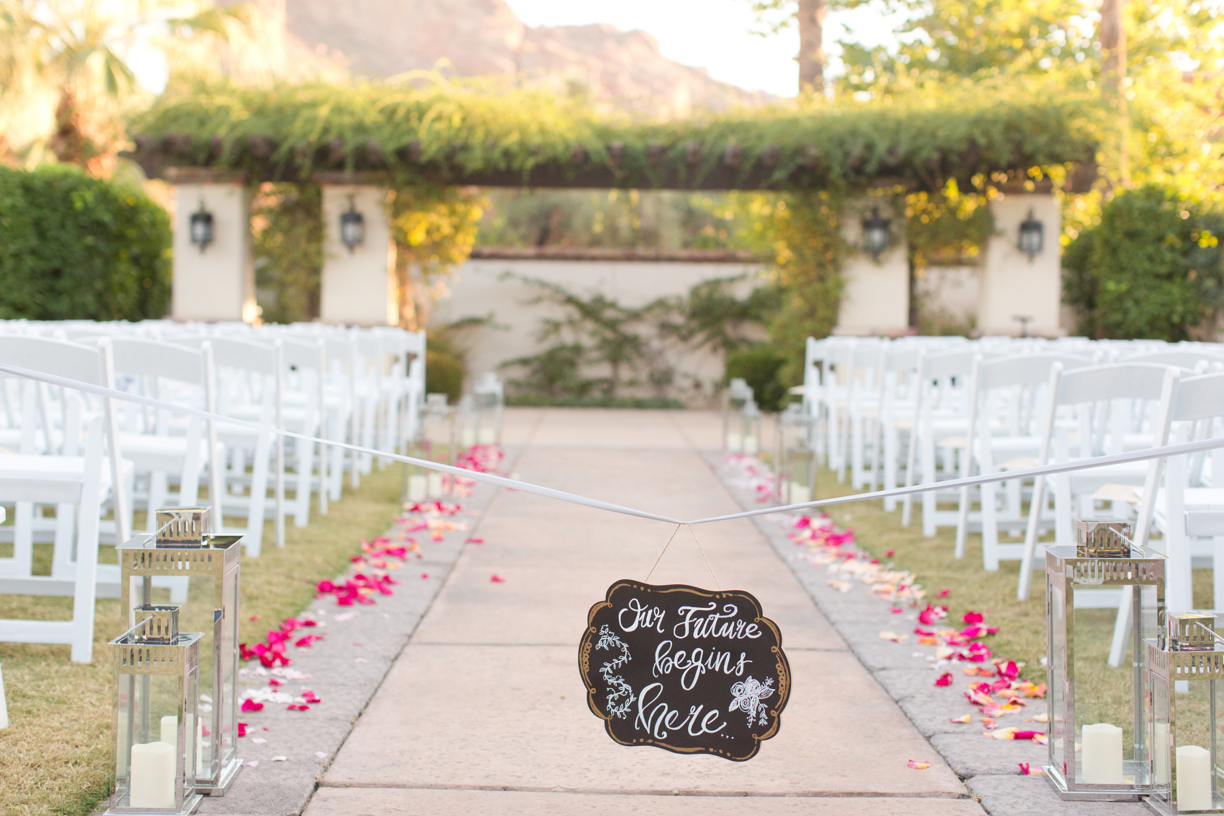 Phoenix-Scottsdale-Arizona-Wedding-Planner-Wedding-Venue-Destination-Wedding-Planner, Omni Montelucia weddings, sunset weddings, Arizona Sunset weddings, wedding details, ceremony details, ceremony lanterns, ceremony aisle