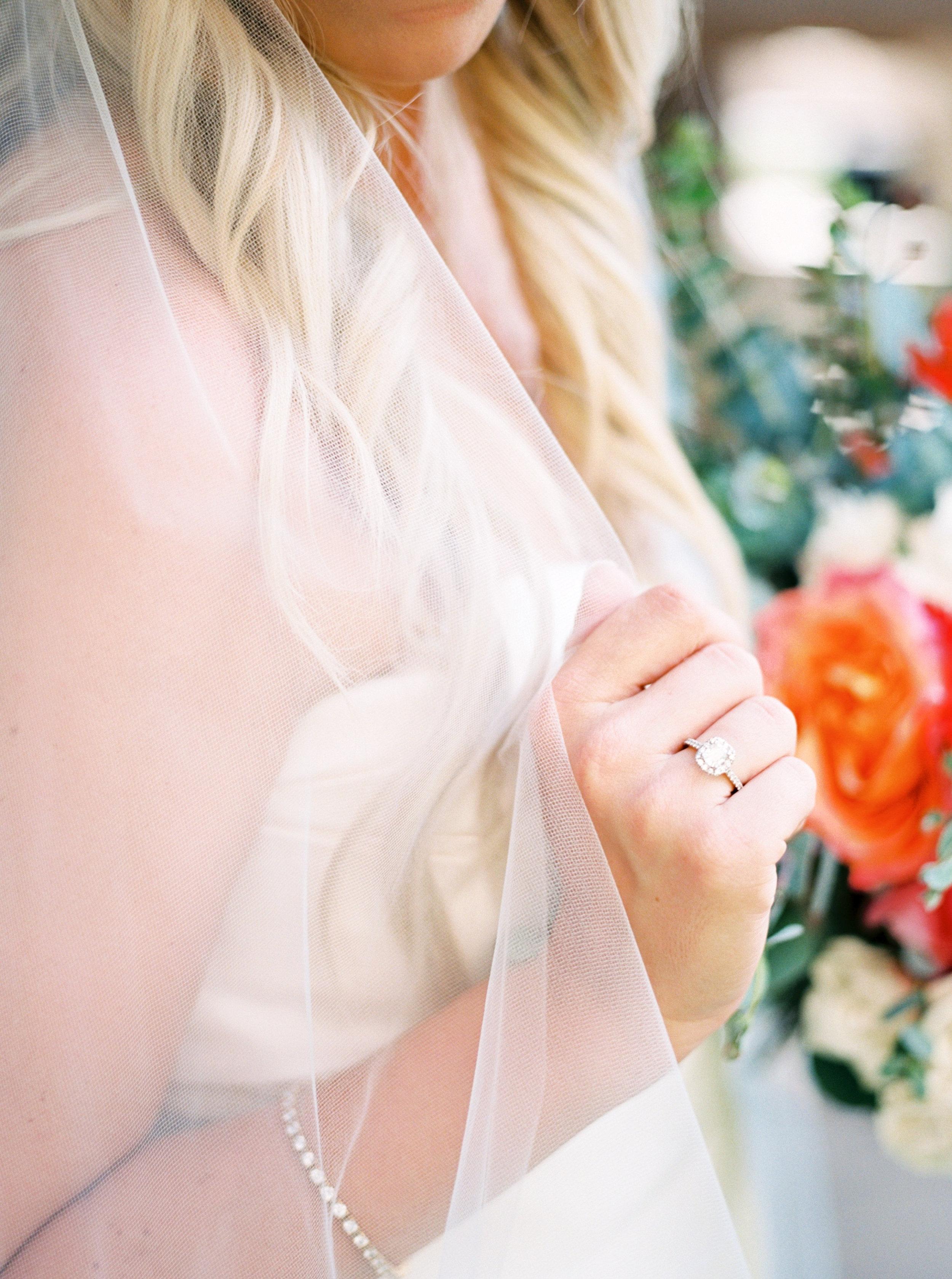 Bride details, bridal veil, engagement ring, bridal bouquet, coral wedding flowers, orange wedding flowers, blush wedding flowers