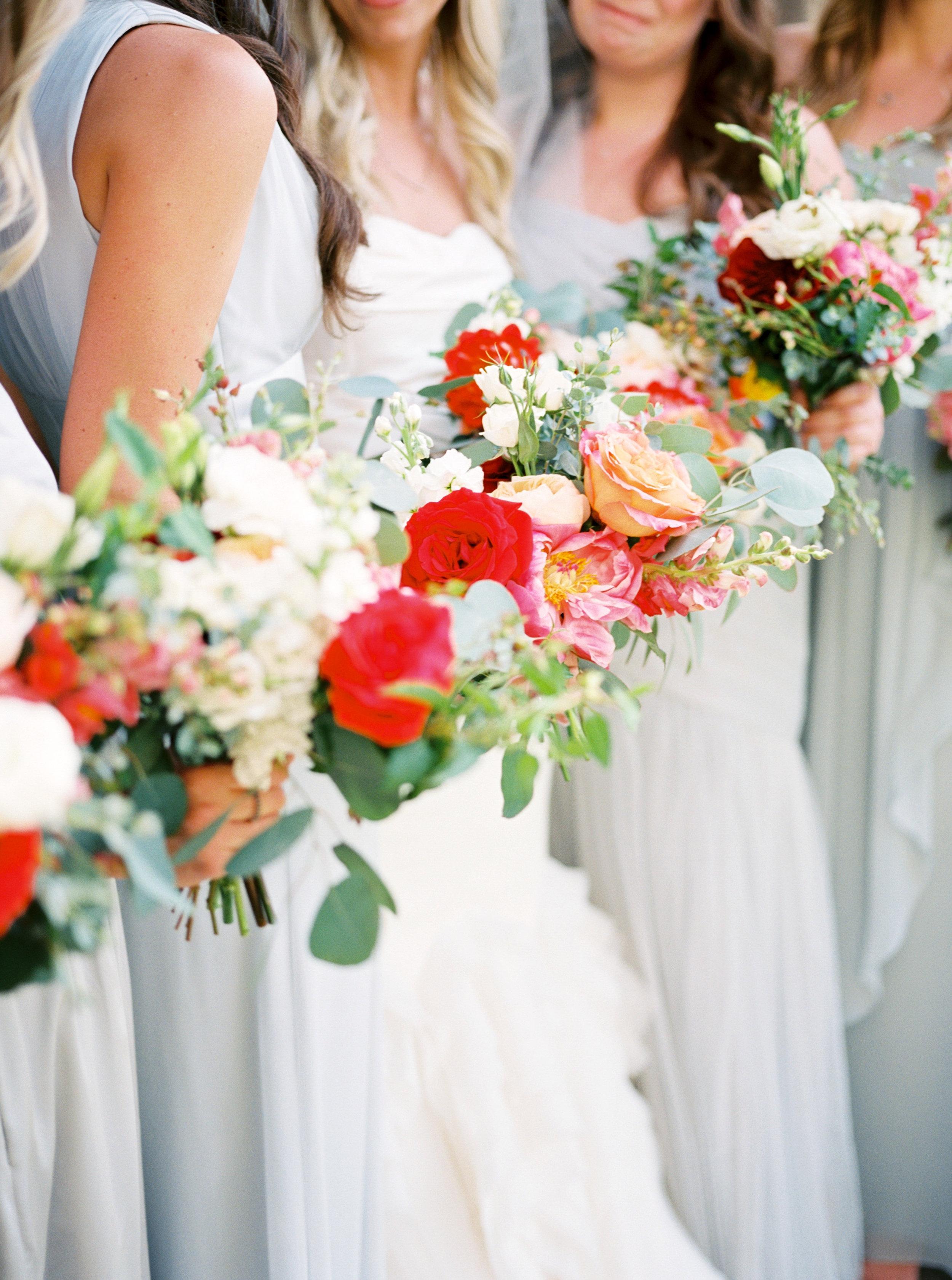Bride details, garden bridal bouquet, bridal bouquet, coral wedding flowers, orange wedding flowers, blush wedding flowers, pink wedding flowers, wedding dress, Vera Wang wedding dress, grey bridesmaids dress, bridesmaid dress