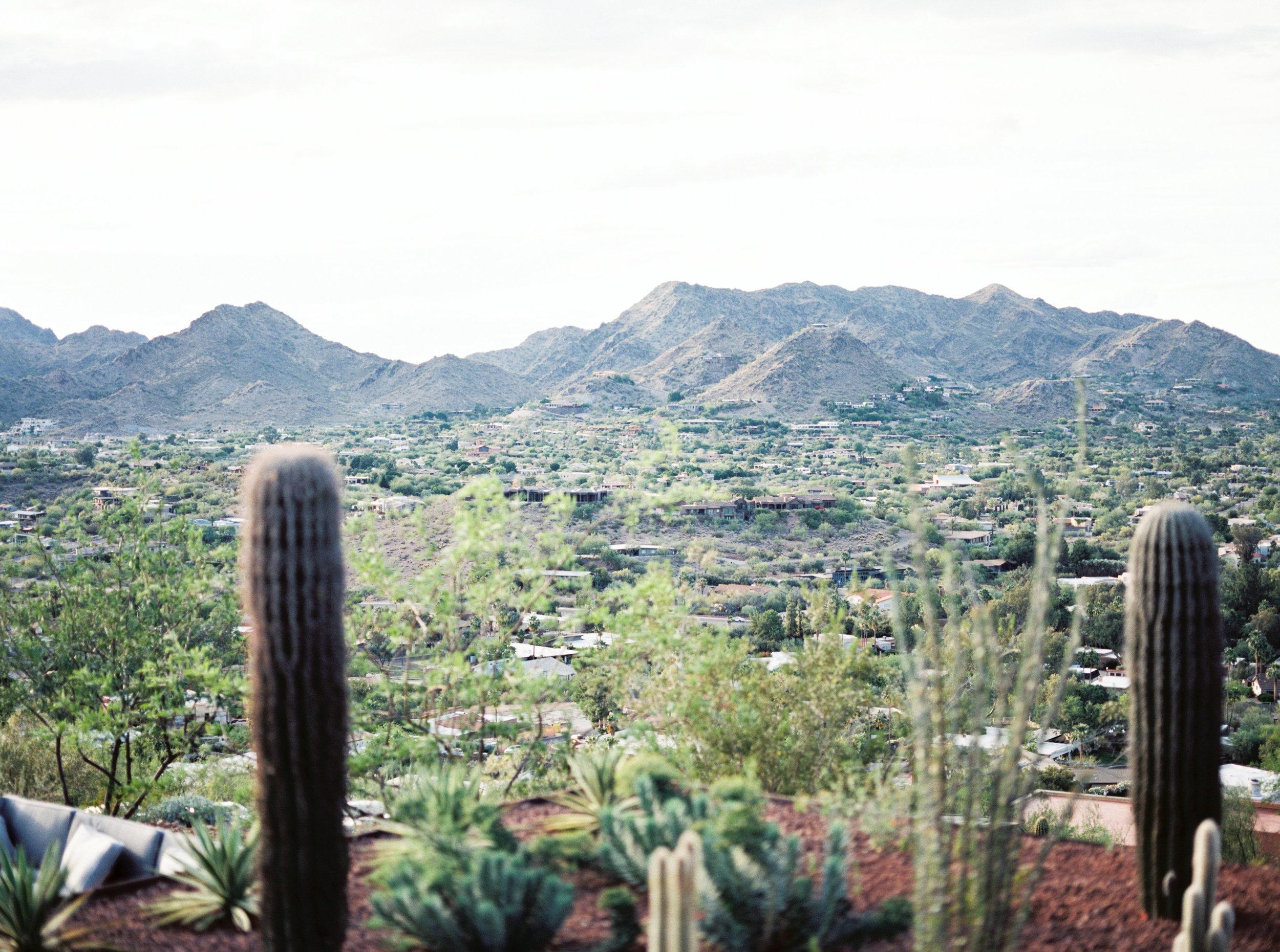 view from Camelback Mountain, desert landscape, desert wedding