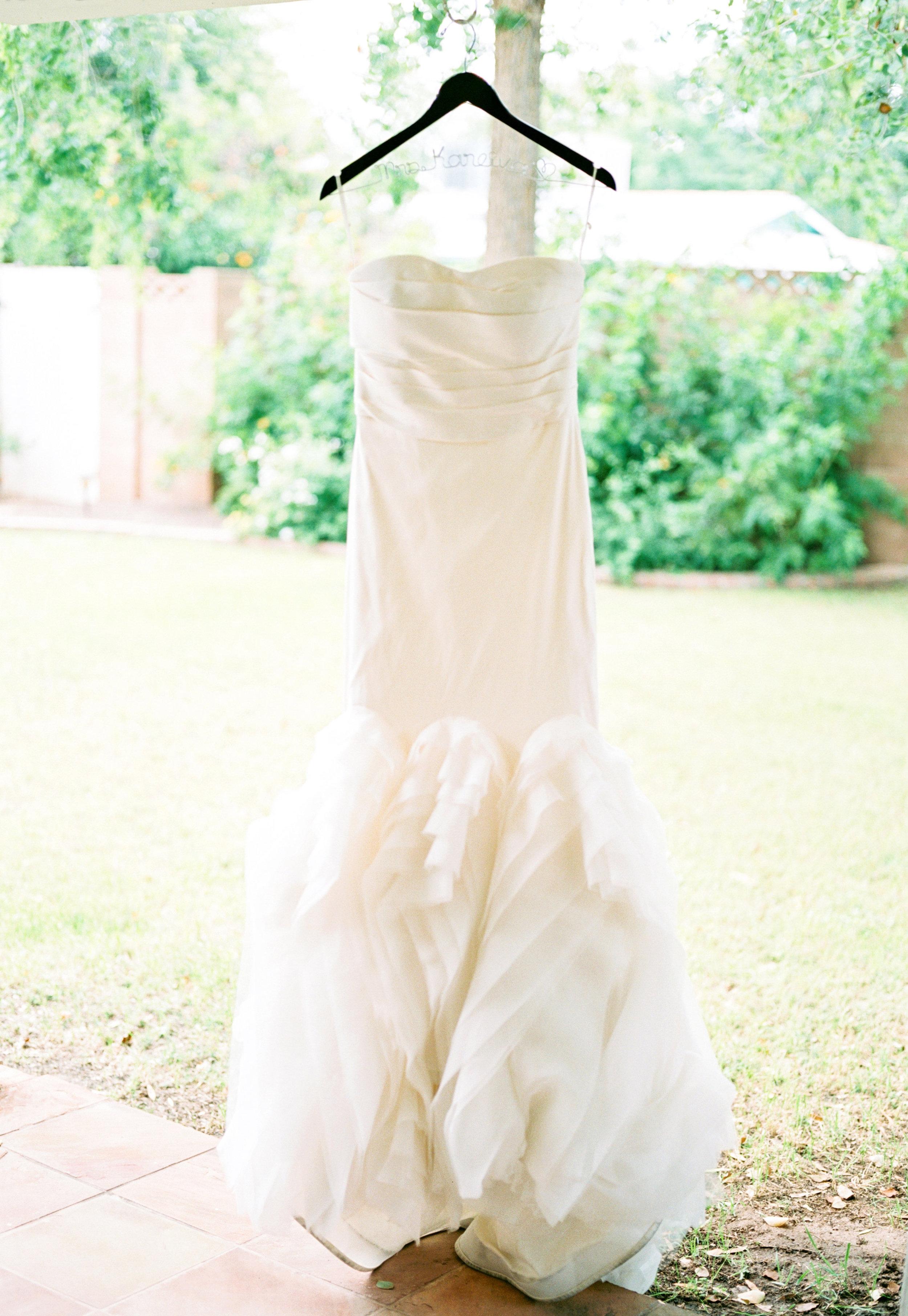 Wedding dress, ivory wedding dress, Vera Wang wedding dress, wedding dress hanger