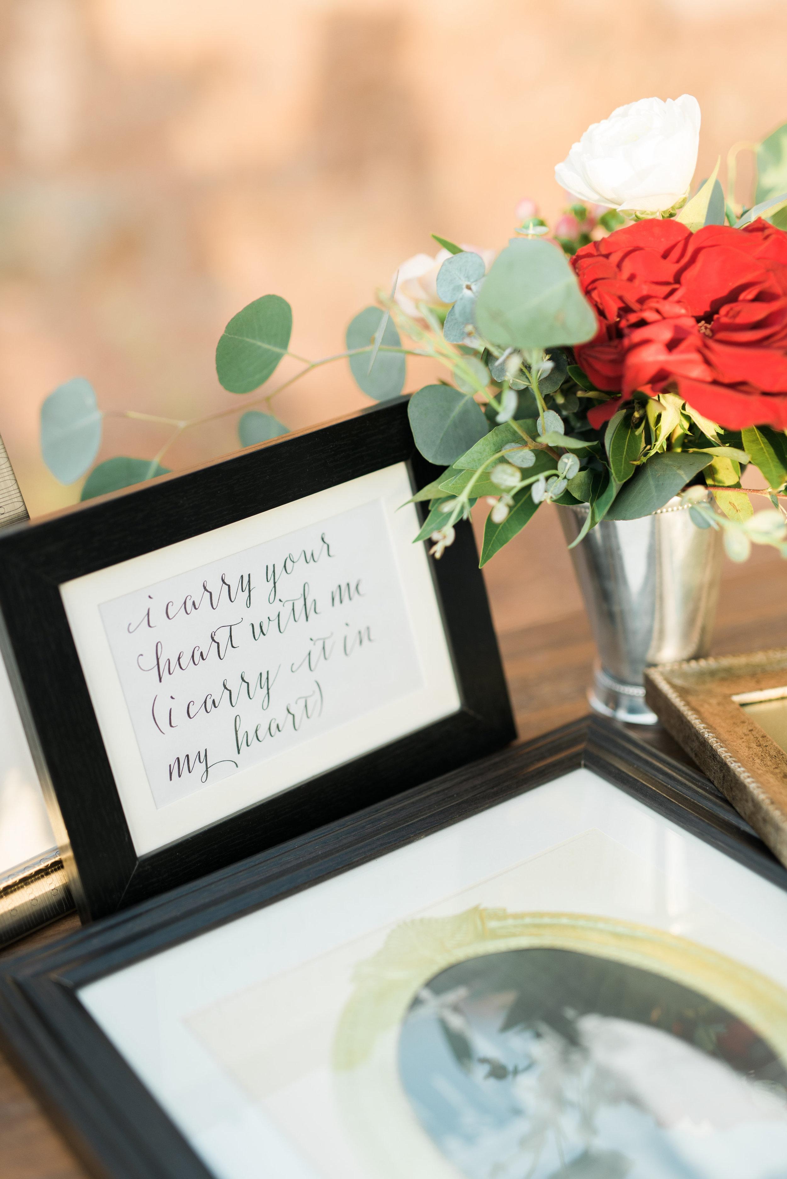 wedding details, wedding signage, wedding flowers, red wedding flowers, orange wedding flowers, ivory wedding flowers,family photos