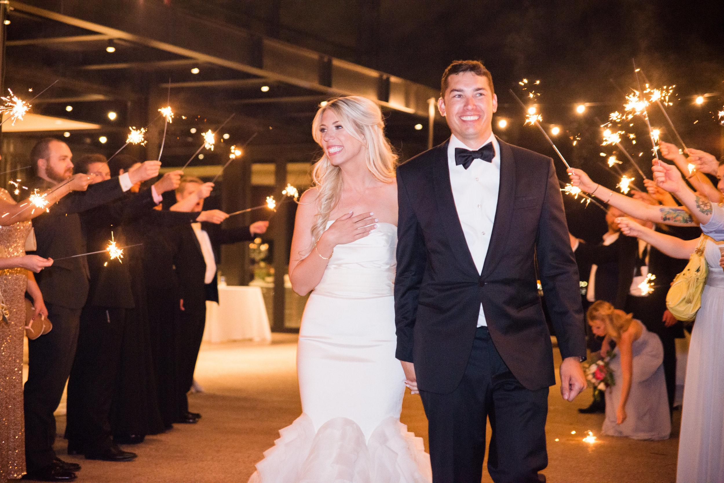 wedding exit, wedding sparklers, bride and groom exit, bride and groom details, wedding gown, wedding dress, Vera Wang wedding dress, groom tux, groom formal attire