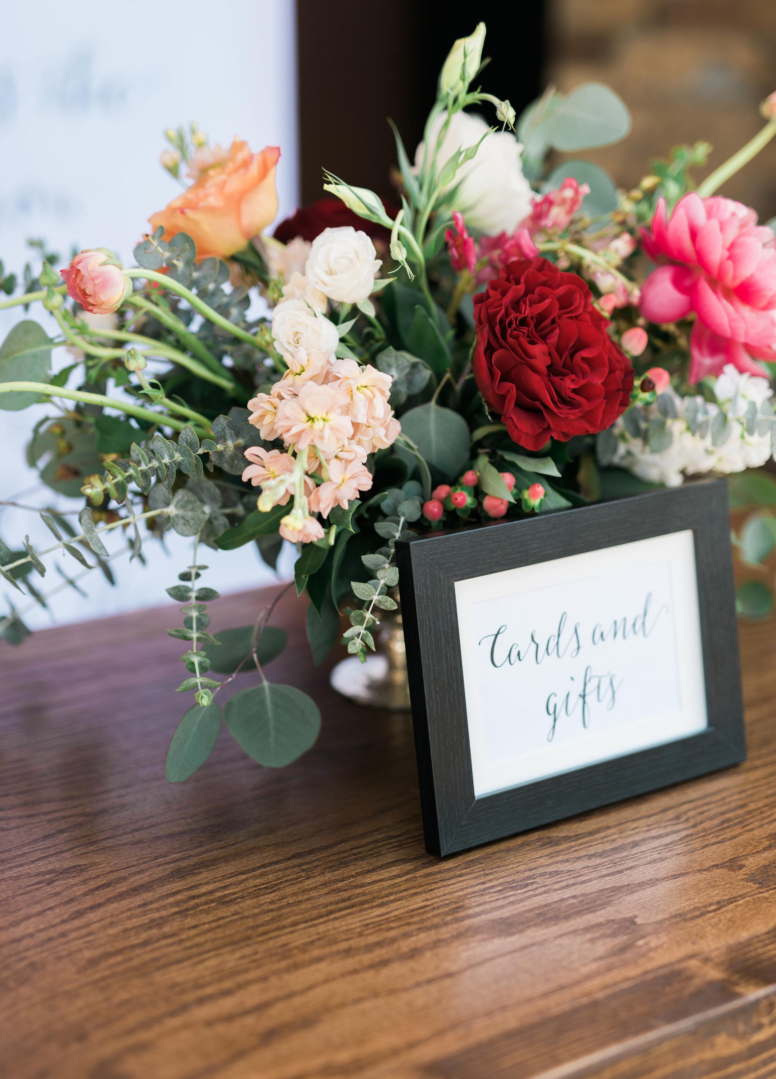 wedding gift table, wedding flowers, blush wedding flowers, red wedding flowers, peach wedding flowers, ivory wedding flowers