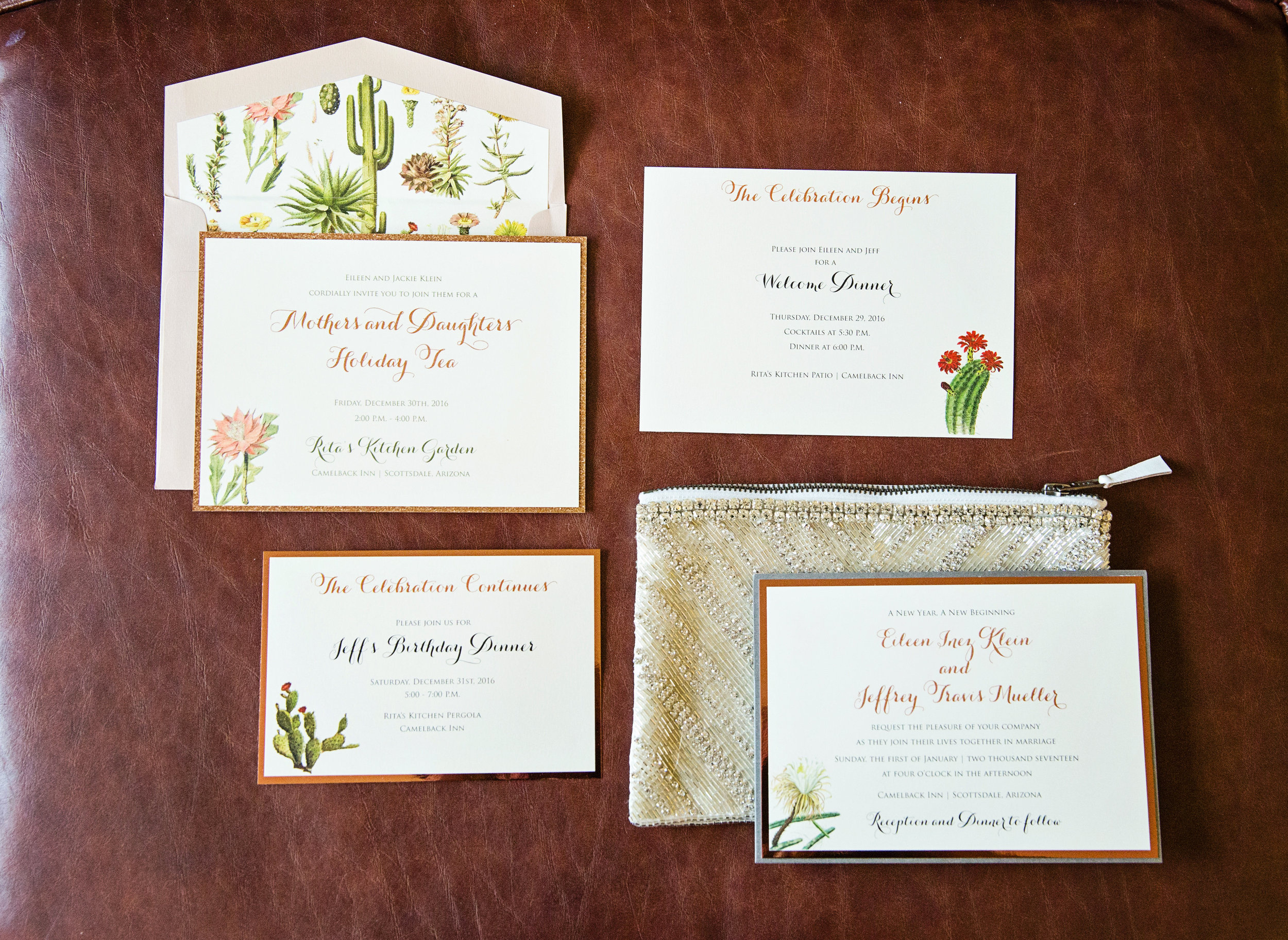 Invitation suite, rose gold invitations, cacti invitations, Arizona wedding invitations, wedding invitations.