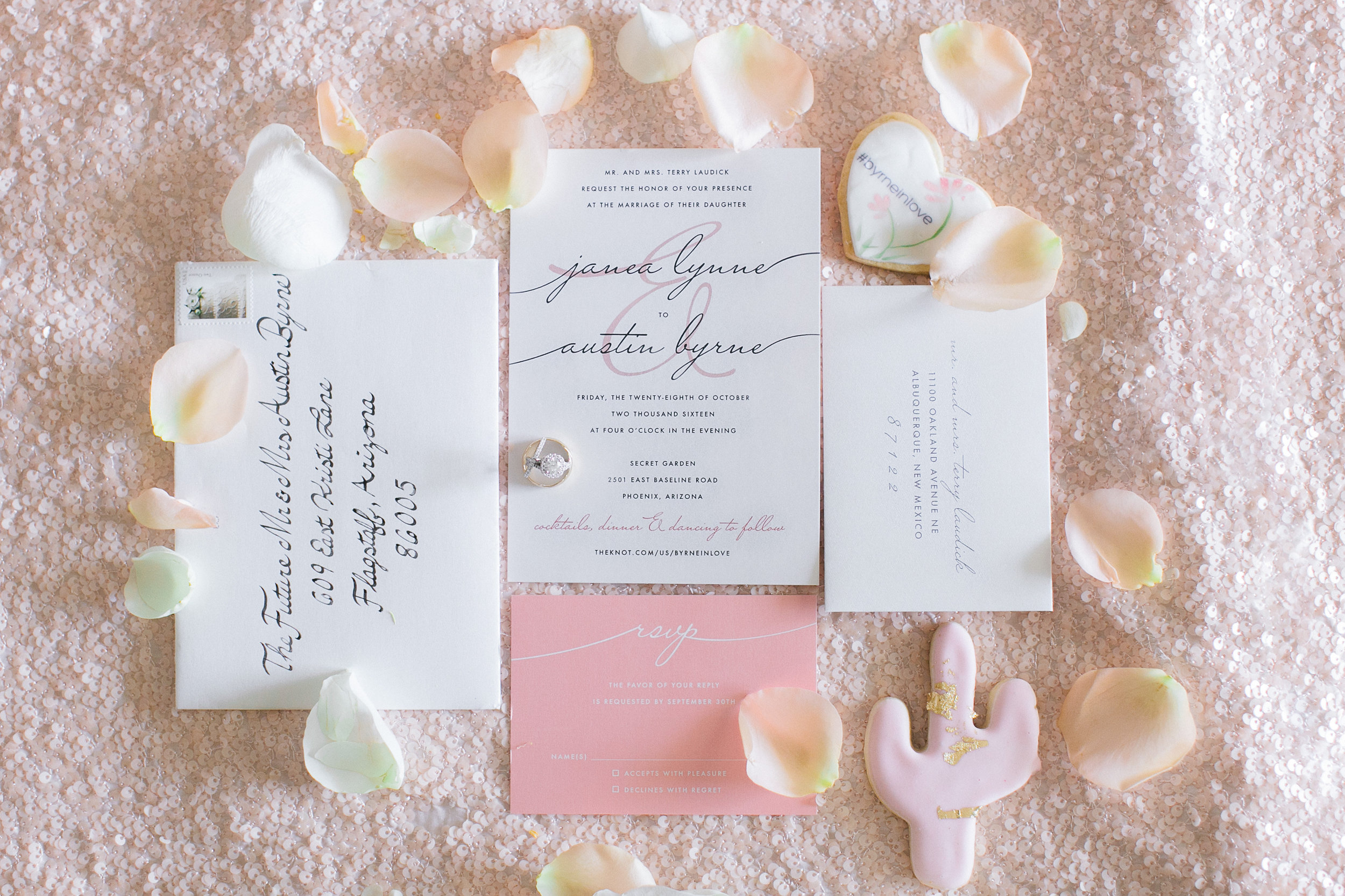 Wedding details, blush wedding, wedding invitation, cactus cookies, desert wedding, wedding planner, andrew jade photography, a day to cherish weddings