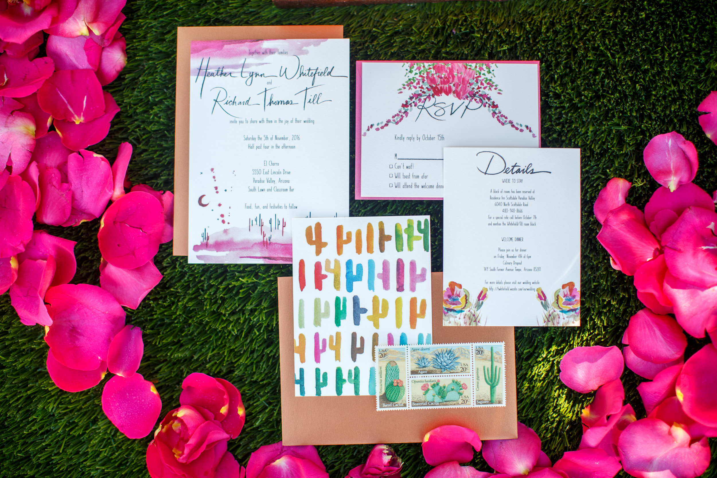 arizona wedding invitation paige poppe wedding planner water color