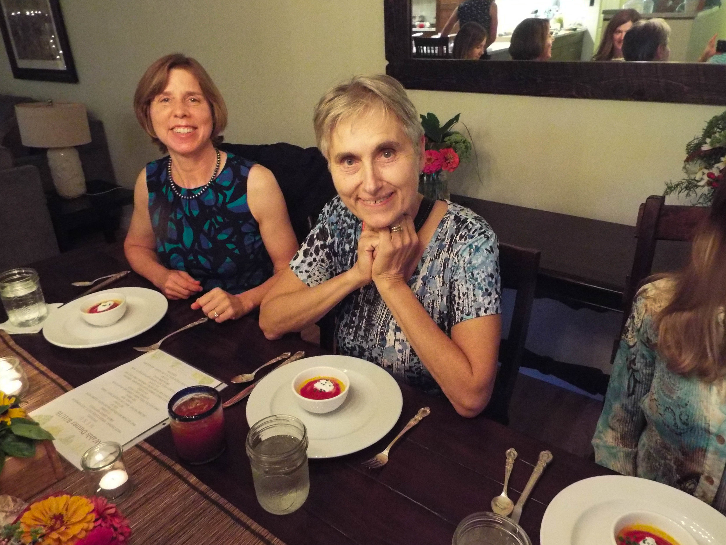 Terry Wahls about to enjoy some of my Curried Beet Gazpacho. Sitting to her left is her cousin, Sara Wahls.