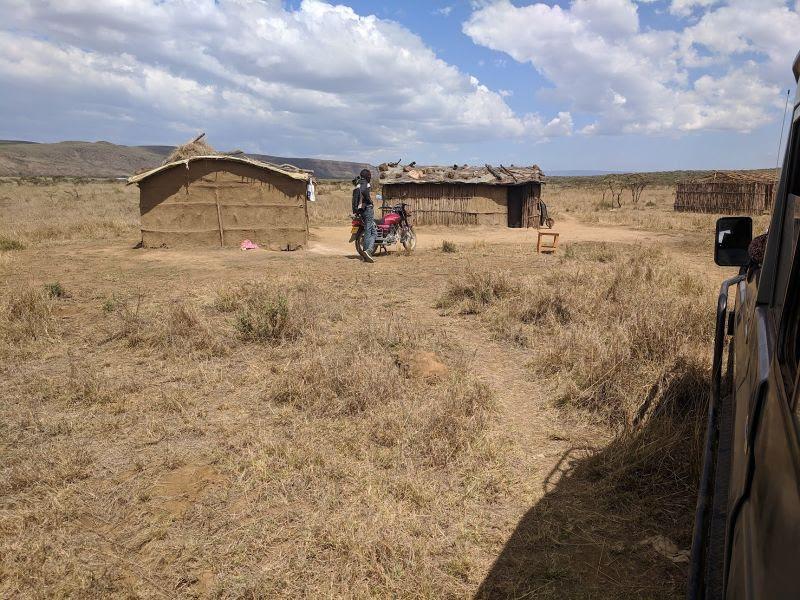 Arriving at Daniel's Manyatta -