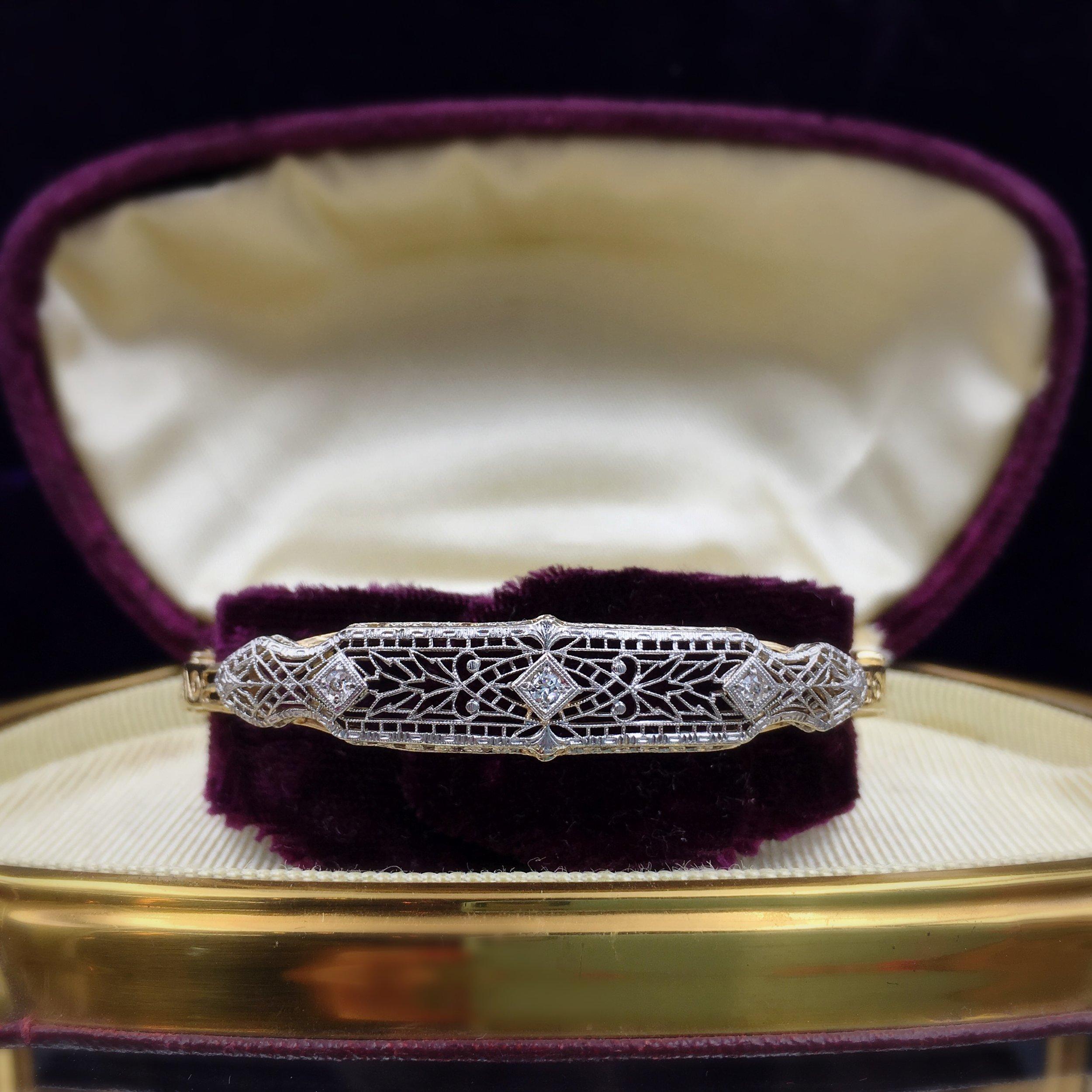 Deco filigree bracelet, Reverie vintage jewelry NYC
