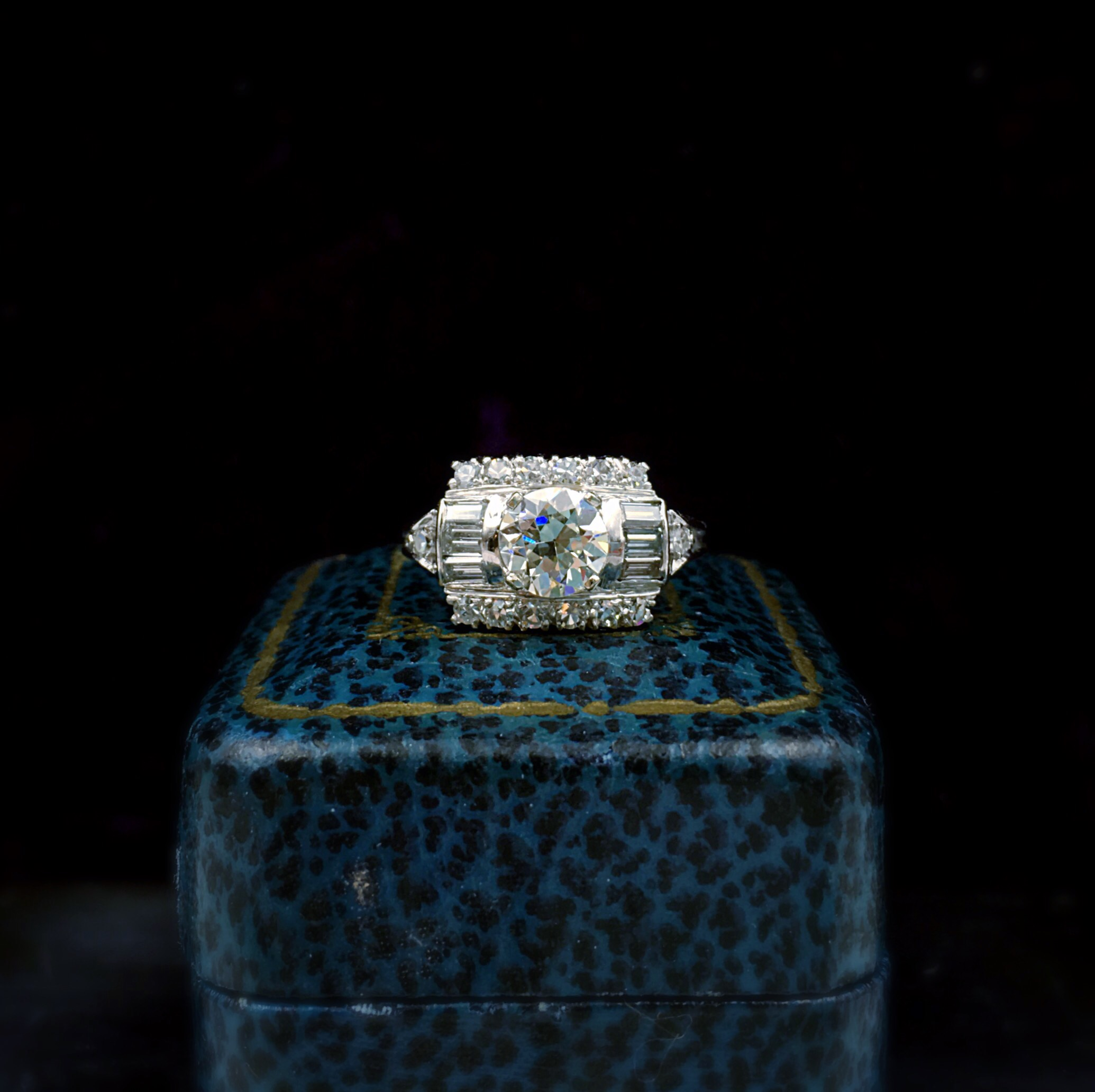 retro diamond engagement ring, reverie estate jewelry nyc