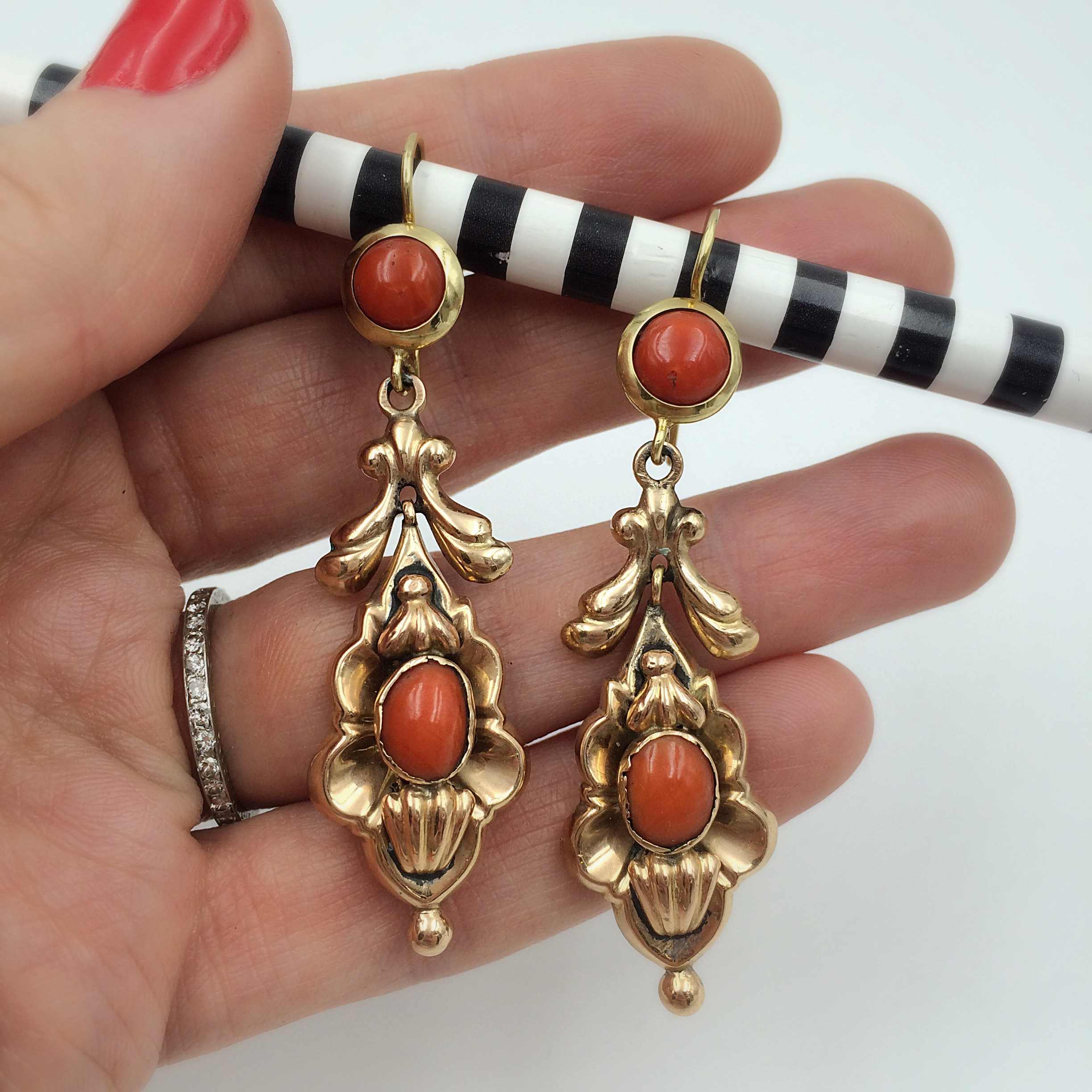 antique coral earrings at Reverie vintage NYC