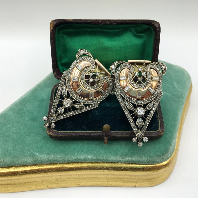 db963d44c Art Deco 18k and Rose Cut Diamond Duette Dress Clips, Rare Find, Incredible  Design! 3,700.00. Reverie vintage jewelry ...