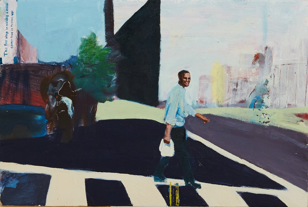 Barack Obama Crosses the Street with his Groceries