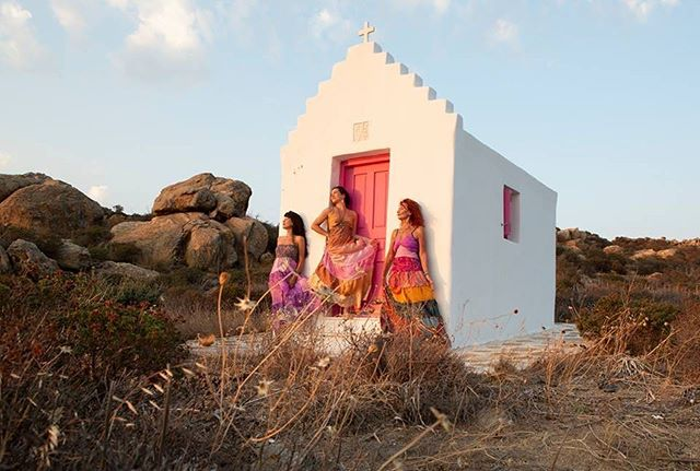 the day we got into elsa's indian gipsy dresses and watched the sunset in the hanuman chapel, greece. #infiniteland #mykonos