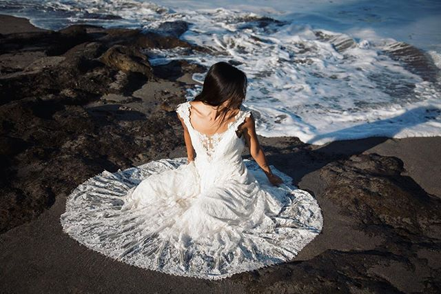 sea foam and lace 💙 #bride #bali #weddingdress #trashthedress