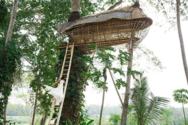 possibly one of the dreamiest - and highest - treehouses ever. #treehouse #loversnest #bali #weddingdress thank you so much @dianamahana and @bambuindah for letting us play in this most beautiful place