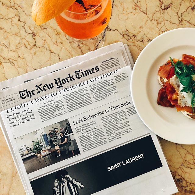 "Never have I ever: appeared on the front page of the @nytimes Sunday Style section...until today! Took myself out to brunch to celebrate this wild moment in time and (obviously) document it for the 'gram 😳🤪 〰️〰️〰️〰️〰️ When the @fernish team asked if I would speak to the NYT about my experience as a customer and perpetual renter of things (apartments, clothes, cars, furniture, work spaces, etc), I was excited to share my perspective.  I thought it would just be a quote, but that turned into a few calls, emails, a photo shoot of my loft and now this 😱. The conversations went in so many directions, but the primary thread was around how ownership (and even the idea of commitment) is being redefined along with the rise of the rental economy. With companies like @joymode @renttherunway @fernish and more, we now have the ability to retain the experience of something without having to actually own it. We are taught that ownership is a goal to work towards, but there is a growing trend toward access, flexibility and convenience without the weight of ownership. We're getting married later. Having kids later (or not at all). Desiring experiences like travel over ownership of things. I recognize that this type of choice comes from a place of privilege. And I'm grateful for the opportunity of this kind of choice in designing the life I want to live. Like choosing which new couch I want in 3 months when my @fernish subscription is up for renewal 🥳👯‍♀️ Catch the full article online with the clever @arianagrande inspired title ""They see it. They like it. They want it. They rent it."" 🎶 Thank you for this opportunity, @lucasdickey @mleebarlow 🙏🏼🙏🏼"