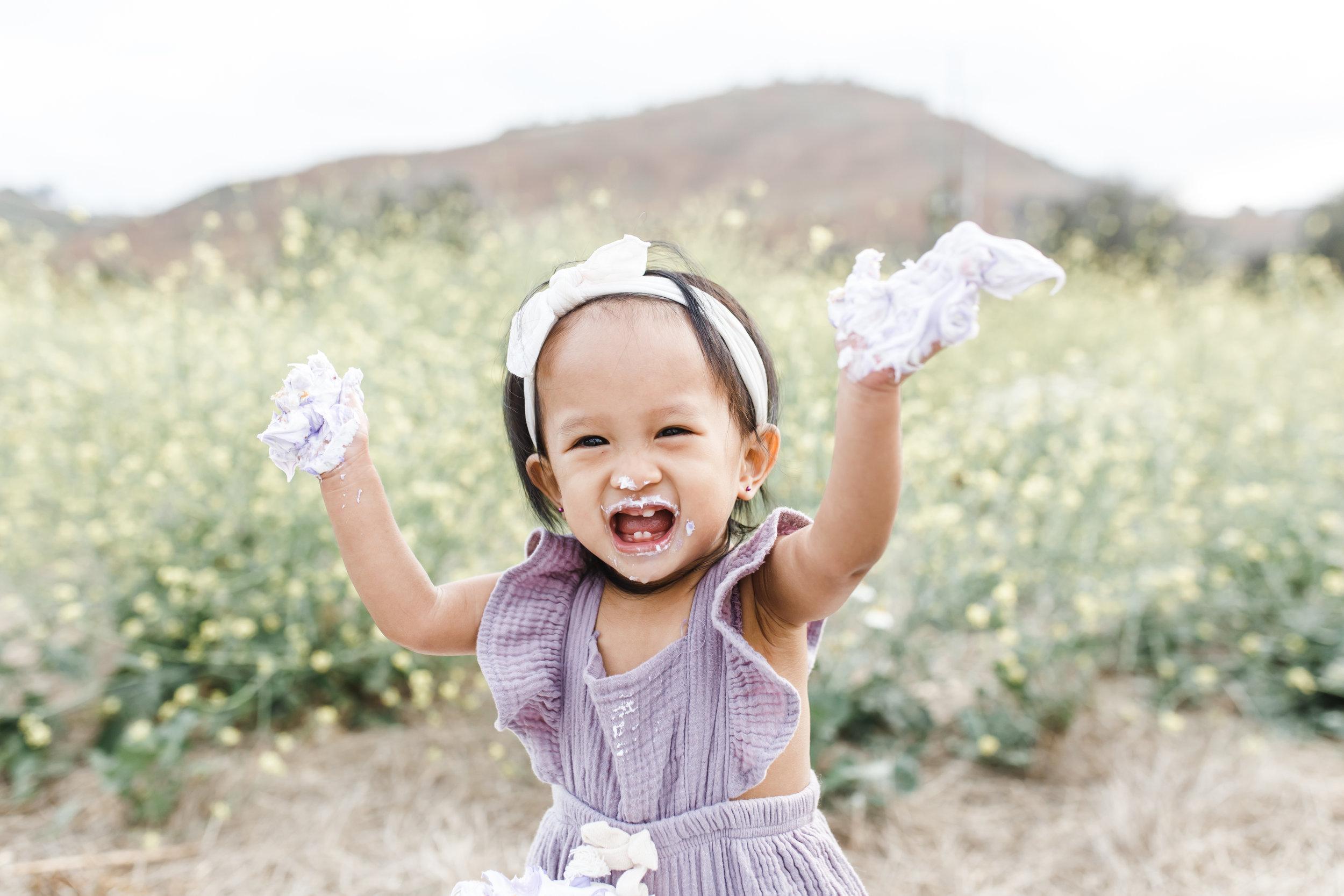 Dana PointInfant Photographer  ||  little girl in a Field for her Cake Smash 1st birthday