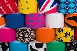 K-tape can be found in numerous colors and patterns.  My favorite is Rock Tape's blu/pink argyle!