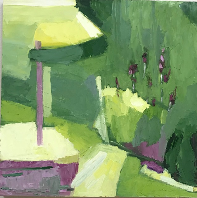 Summer Backyard oil on wood panel