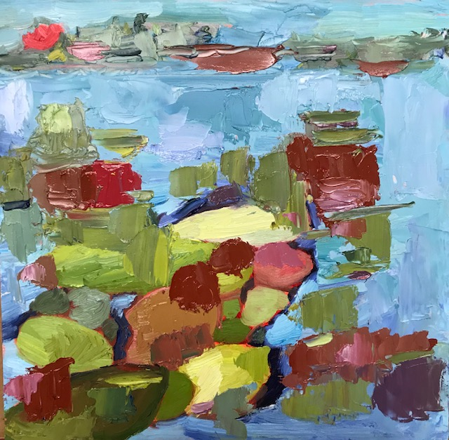 Water Lilies, oil on gessoed panel