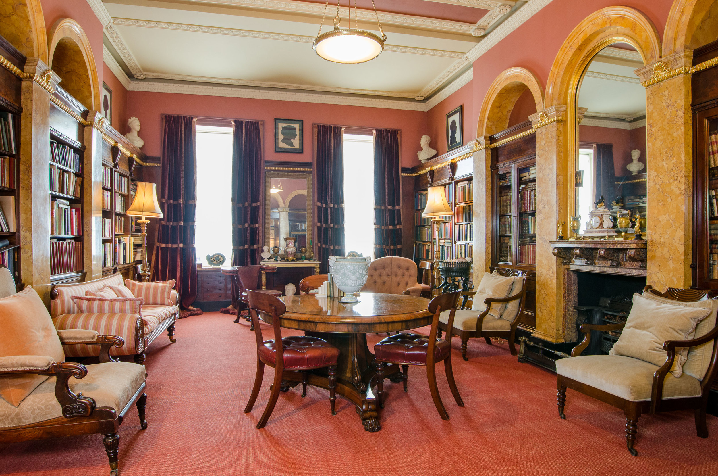 The library at 19, Lansdown Crescent, Bath, formerly the property of William Beckford; contents valued & sold at auction by Aldridges of Bath