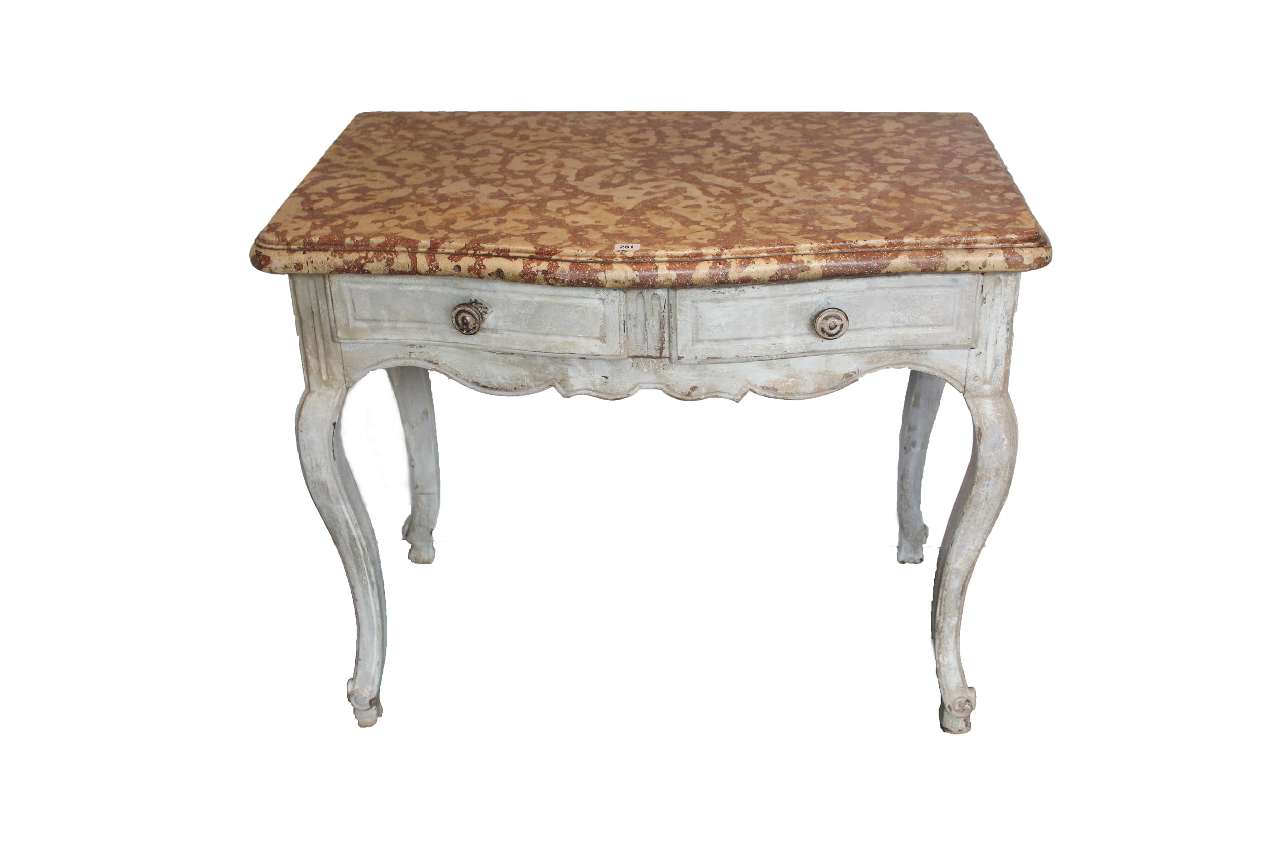 "Sold For £3,800 A late 18th century French carved & painted serpentine-front side table with ""Biscotti"" marble top"