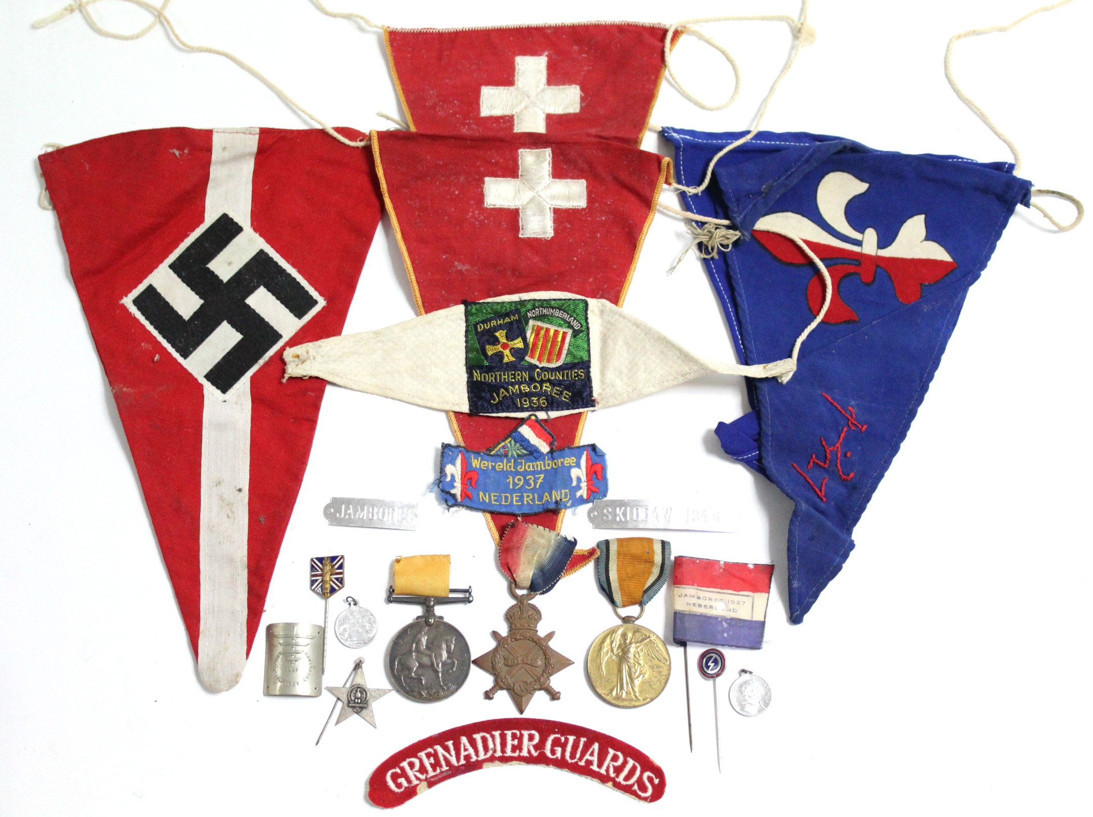 Sold For £800. A World War One trio; 1914-15 Star, British War Medal, & Victory Medal, awarded to Private W. T. Hawkins, Royal Fusiliers; together with various Boy Scout pennants, etc.