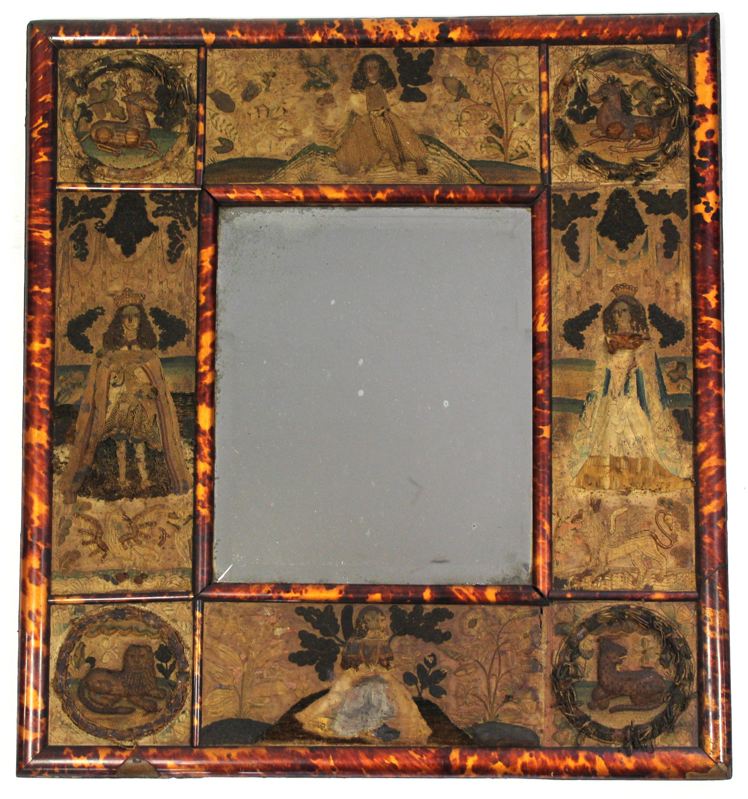 Sold For £3,000  Charles II stump-work & tortoiseshell-veneered dressing mirror