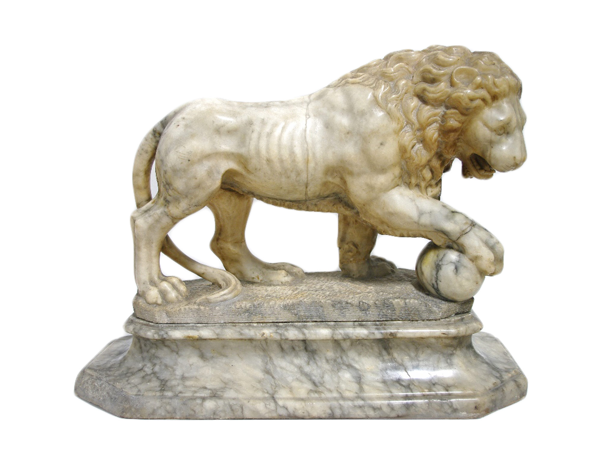 Sold For £5,600  A Grand Tour alabaster model of the Medici Lion