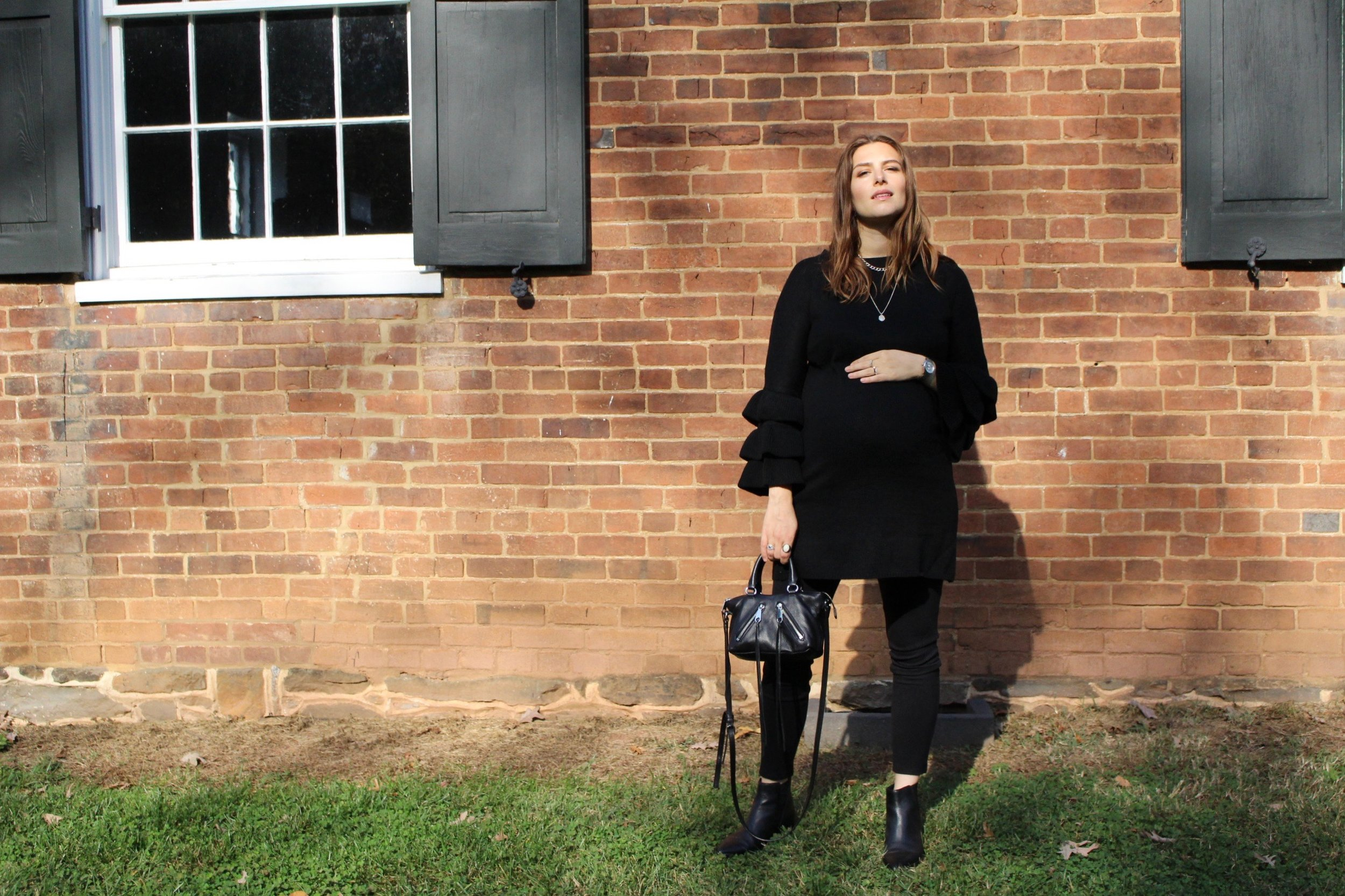 FALL WARDROBE / BACK IN BLACK / ALL BLACK EVERYTHING / MATERNITY STYLE / PREGNANCY STYLE / THIRD TRIMESTER / NEW YORK STYLE / FALL FASHION / NICOLEMCARUSO.COM