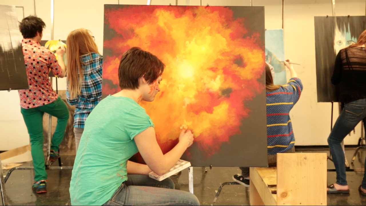 """Lindsay Kay at painting canvas in """"Fine"""""""