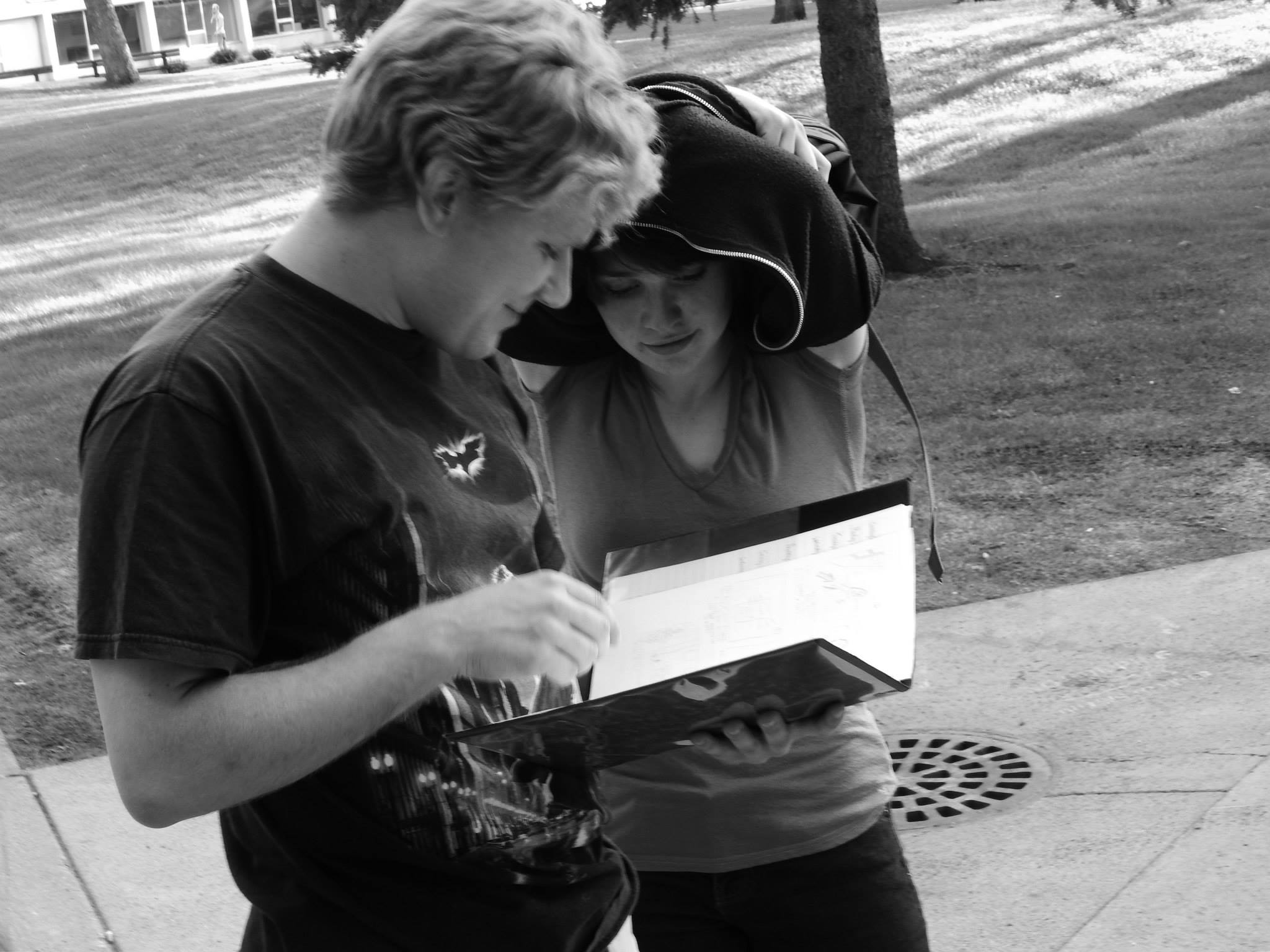 """Director C.B. Jacobson and star Lindsay Kay examining the script on the set of """"Fine"""" (photo by Joe Barden)"""