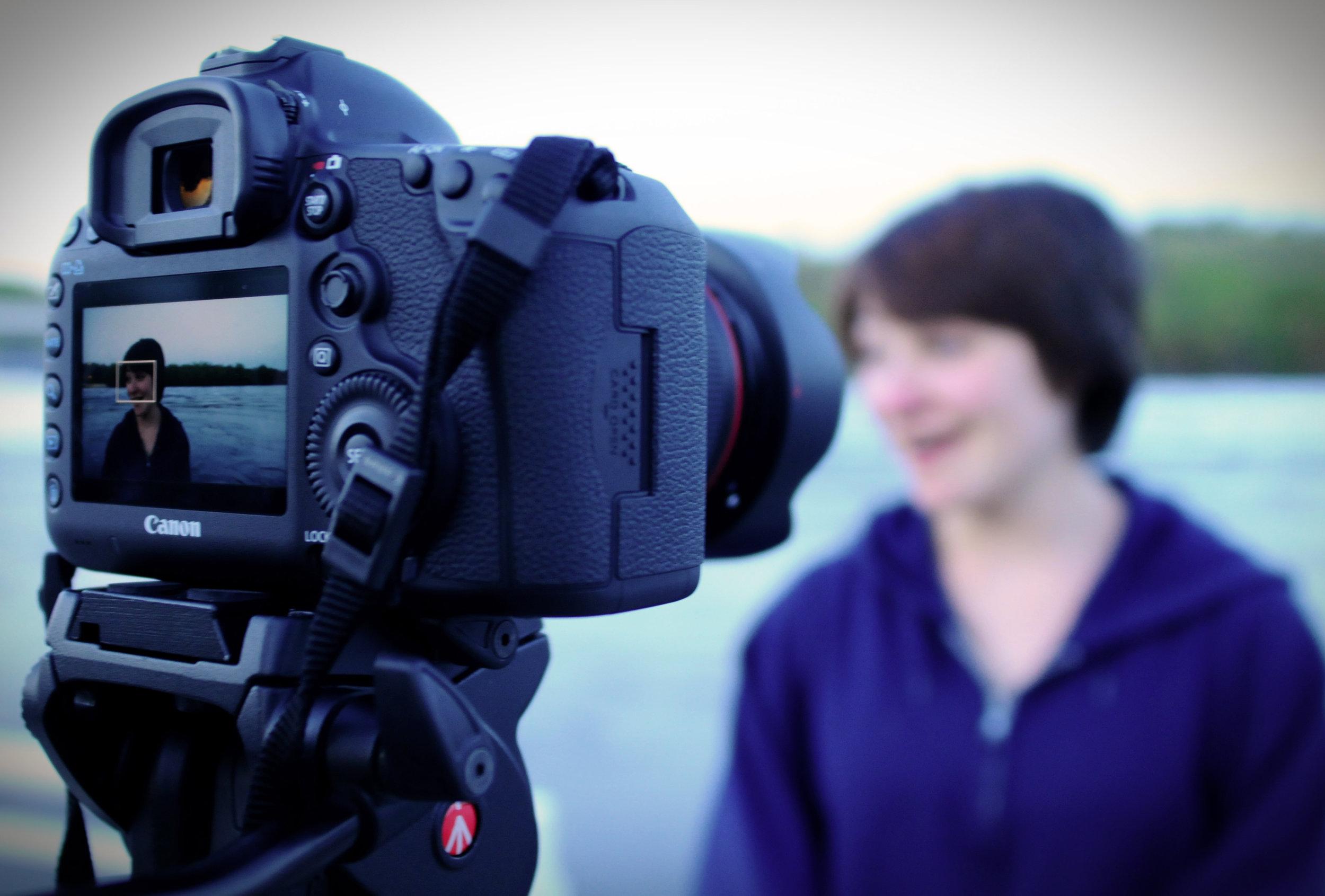 "Lindsay Kay on camera on the set of ""Fine"" (photo by Corey Smith)"