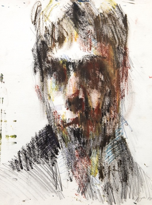 Self portrait, 2010 oil on paper  Ruth Bochard Self Portrait Collection