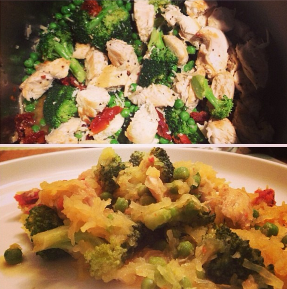 Spaghetti squash  with chicken, broccoli, peas and sundried tomatoes!